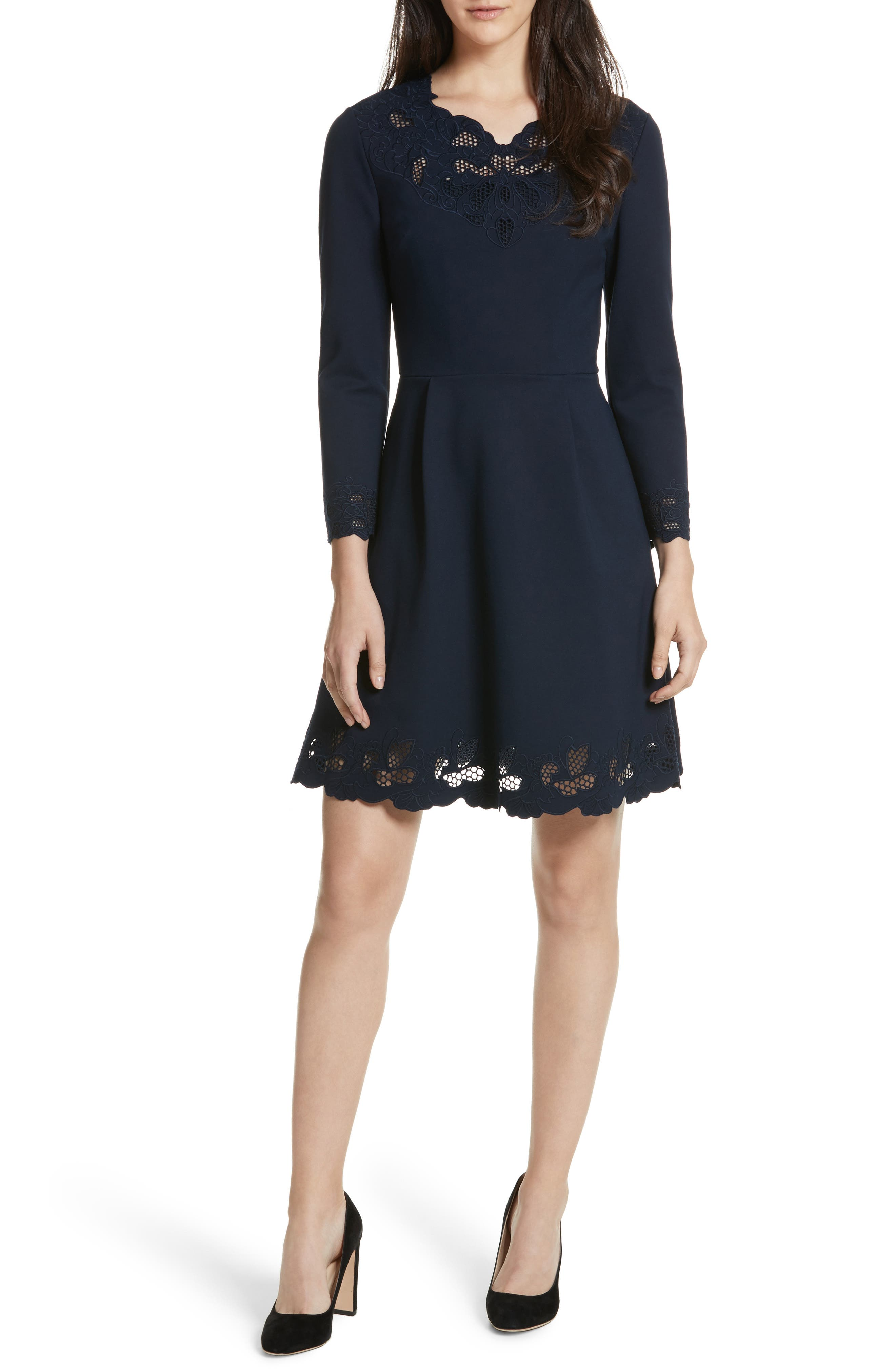 Emey Fit & Flare Dress,                         Main,                         color, Navy