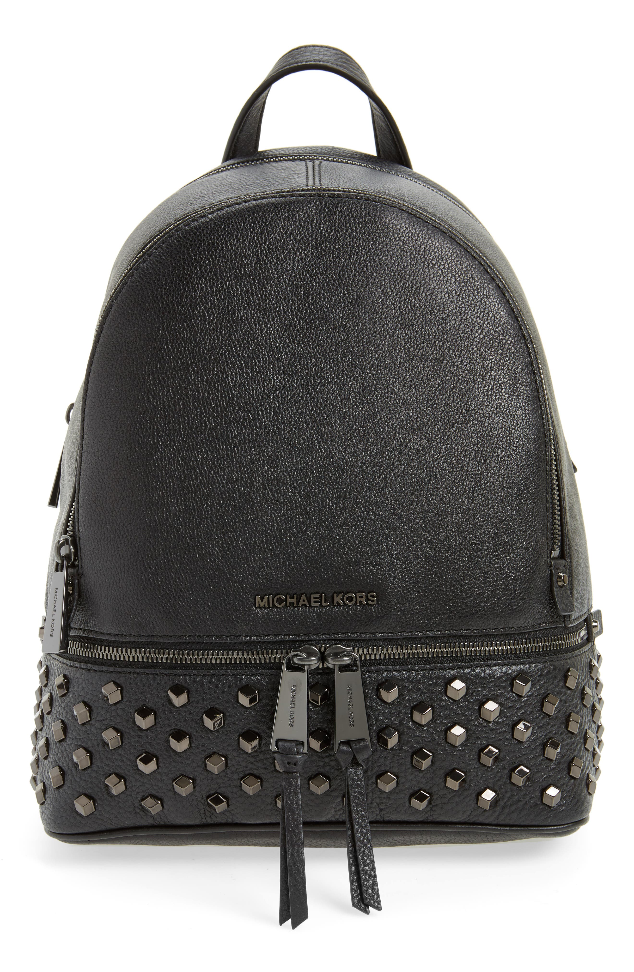 MICHAEL Michael Kors Medium Rhea Zip Studded Leather Backpack