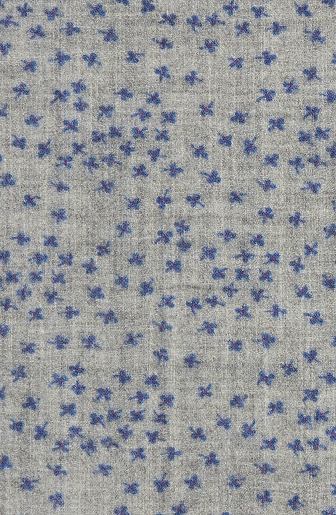 Patterned Wool Pocket Square,                             Alternate thumbnail 3, color,                             Floral Grey