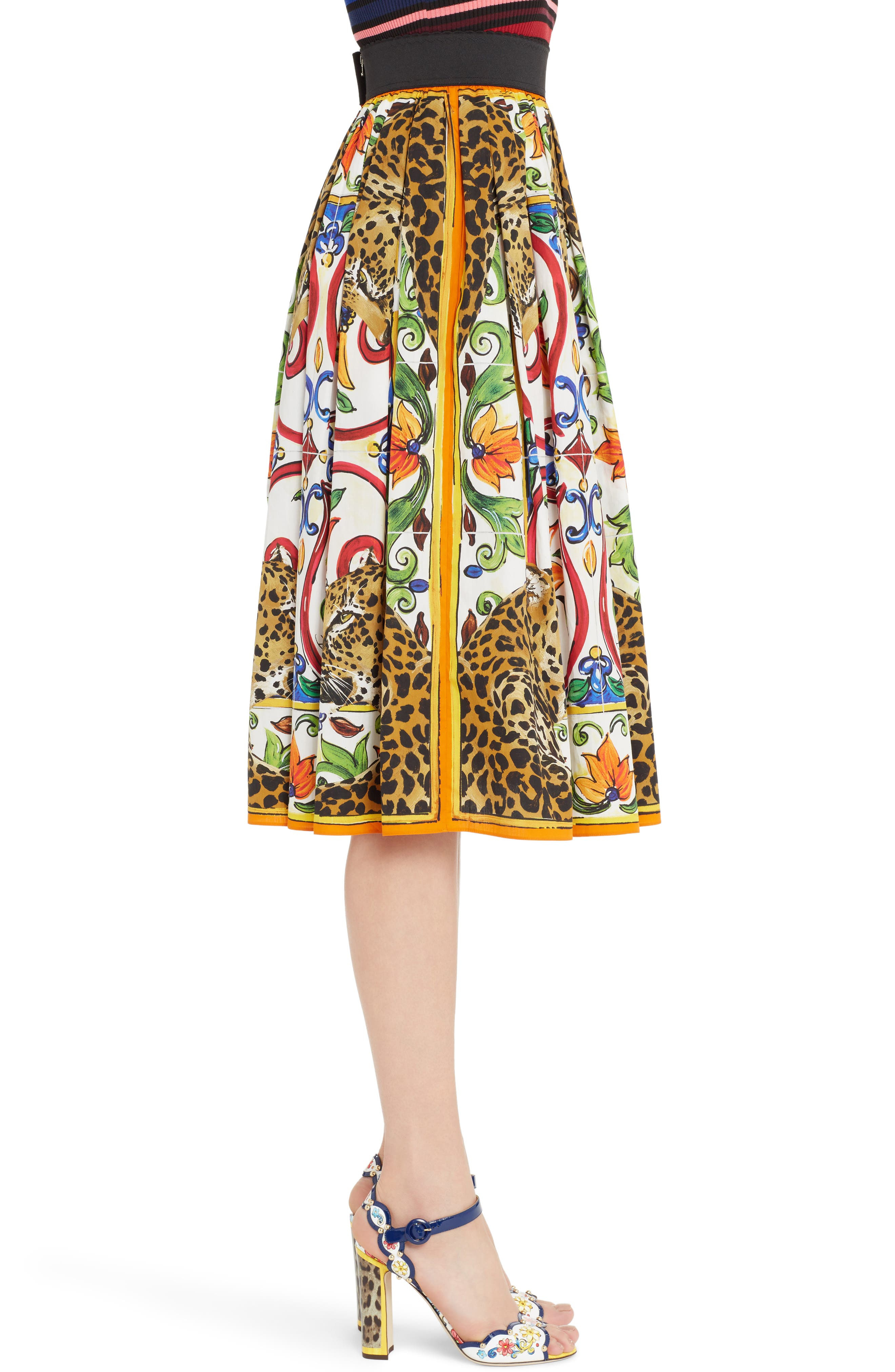 Alternate Image 3  - Dolce&Gabbana Maiolica Print Cotton Skirt