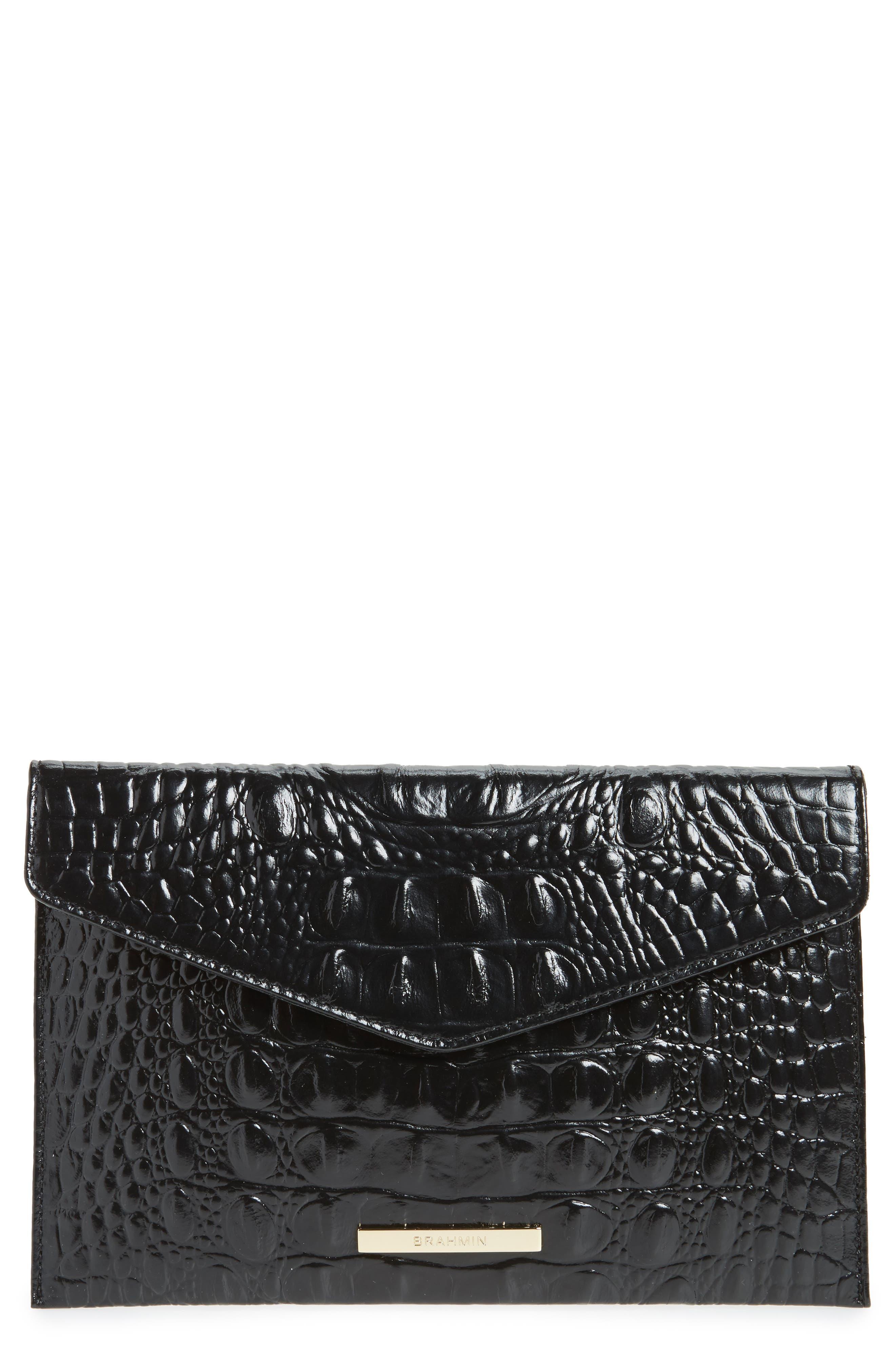 Brahmin Melbourne Croc Embossed Leather Envelope Clutch