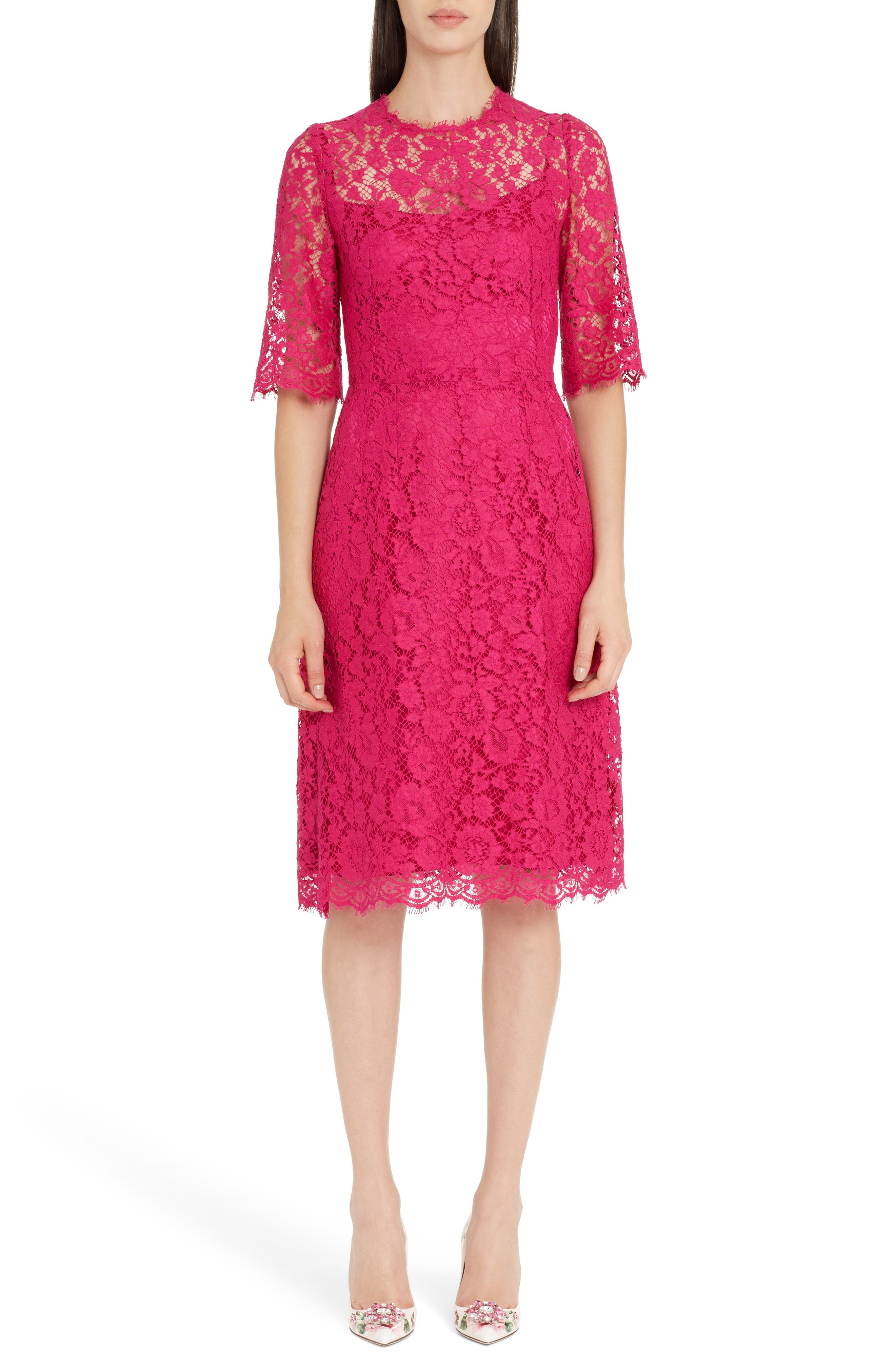 Lace A-Line Dress,                             Main thumbnail 1, color,                             Bright Pink