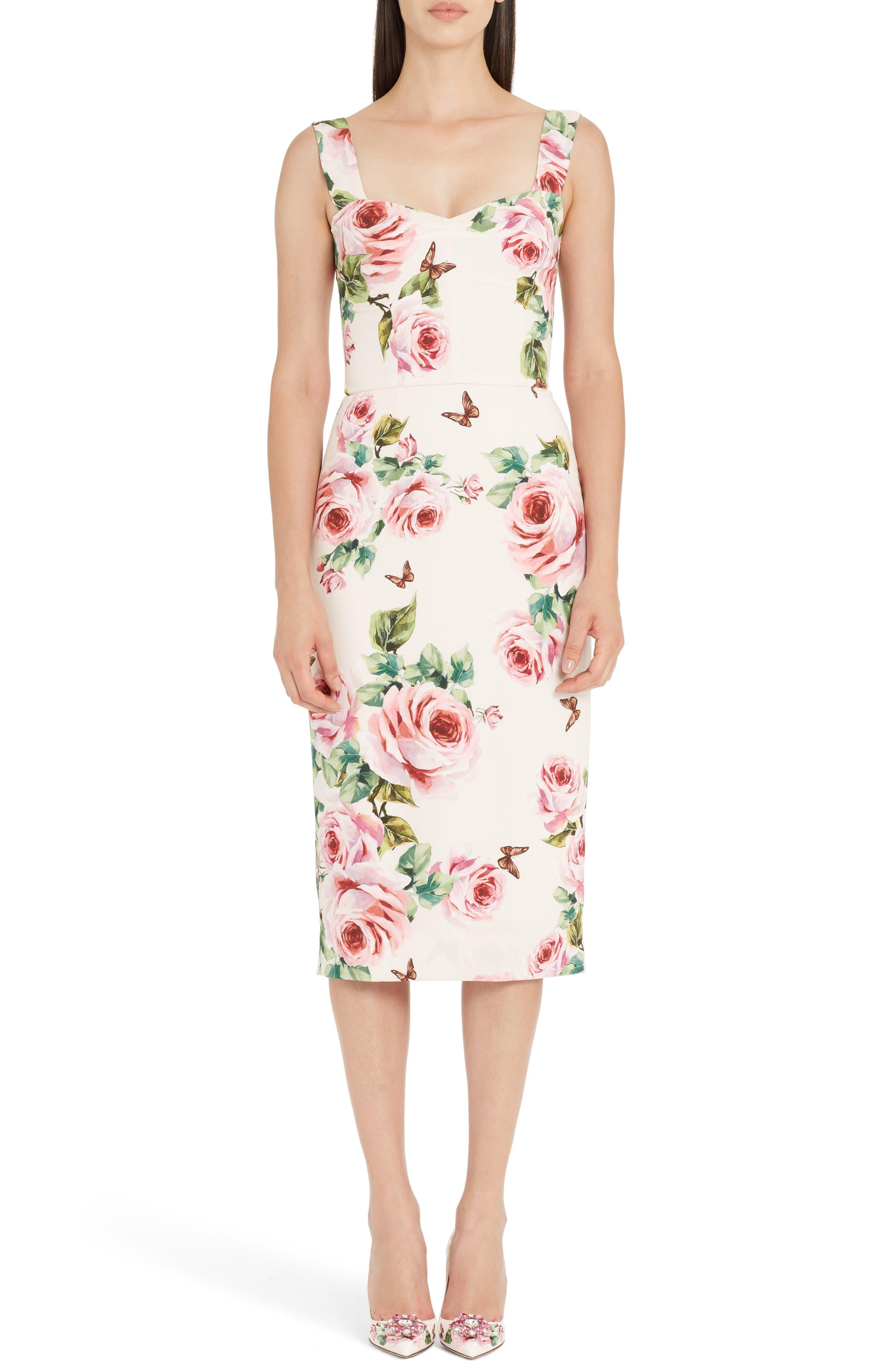 Rose Print Stretch Cady Sheath Dress,                         Main,                         color, Pink