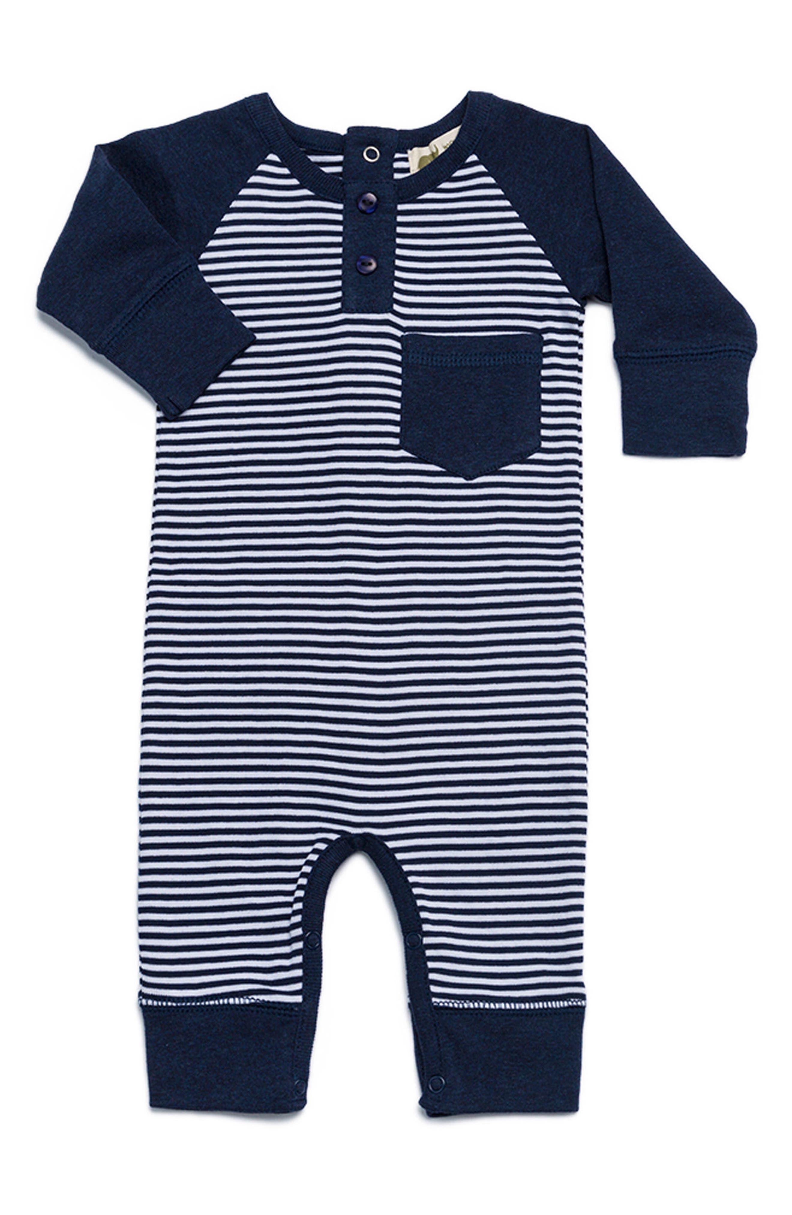 Henley Organic Cotton Romper,                             Main thumbnail 1, color,                             Navy Blue X White Stripe
