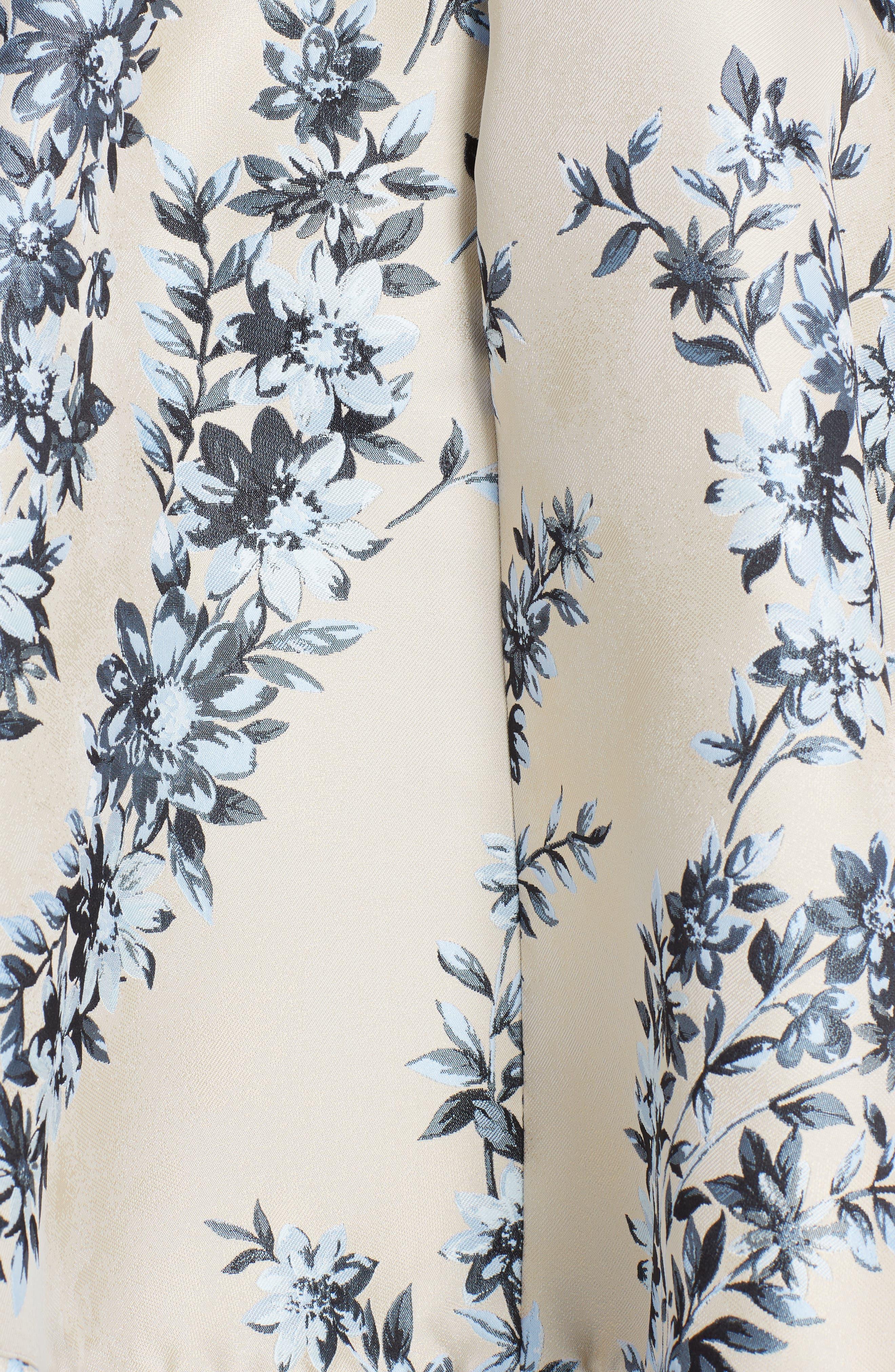Floral Ramage Fit & Flare Dress,                             Alternate thumbnail 5, color,                             Faith Blue