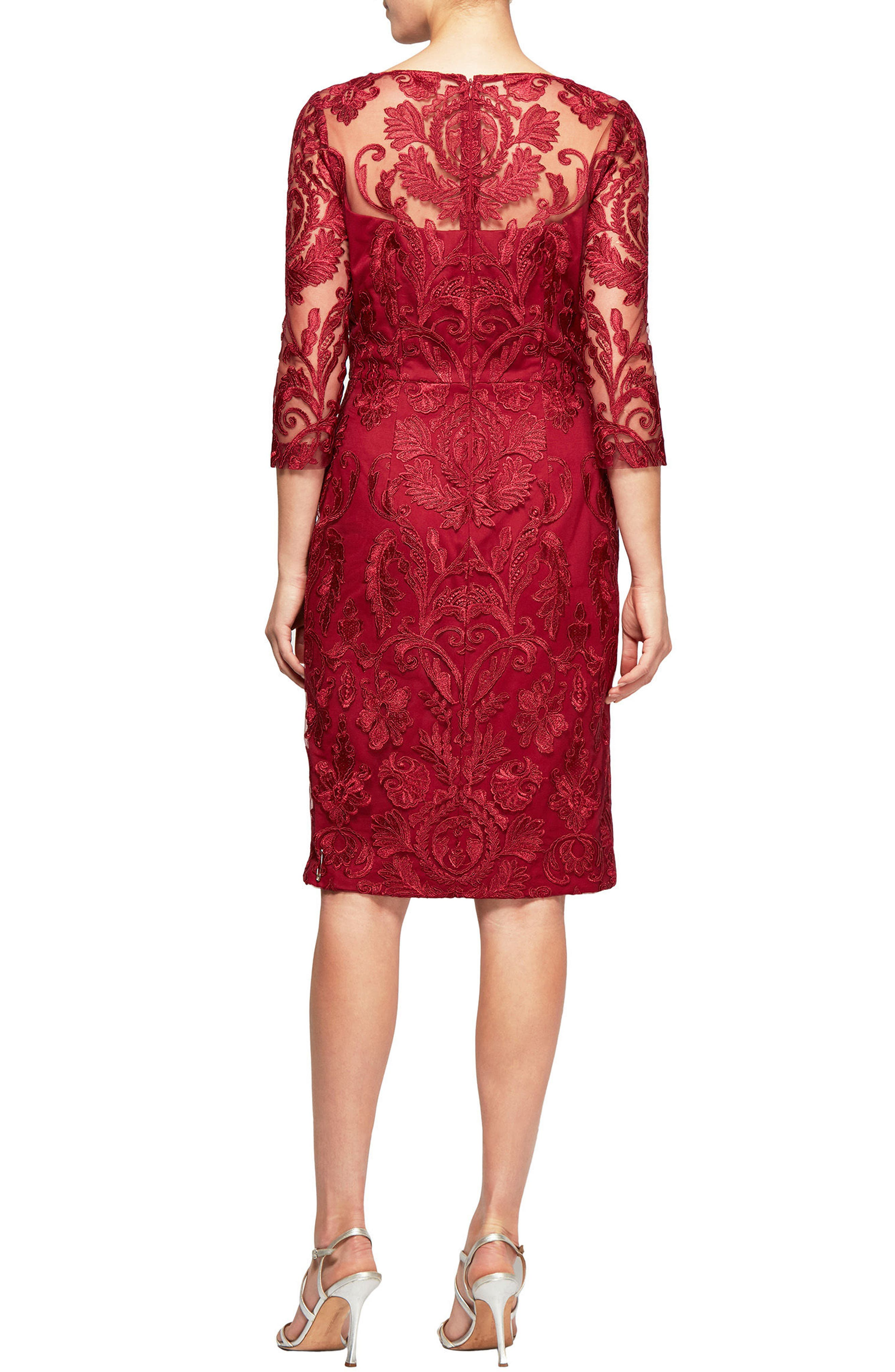 Embroidered Illusion Shift Dress,                             Alternate thumbnail 2, color,                             Cranberry