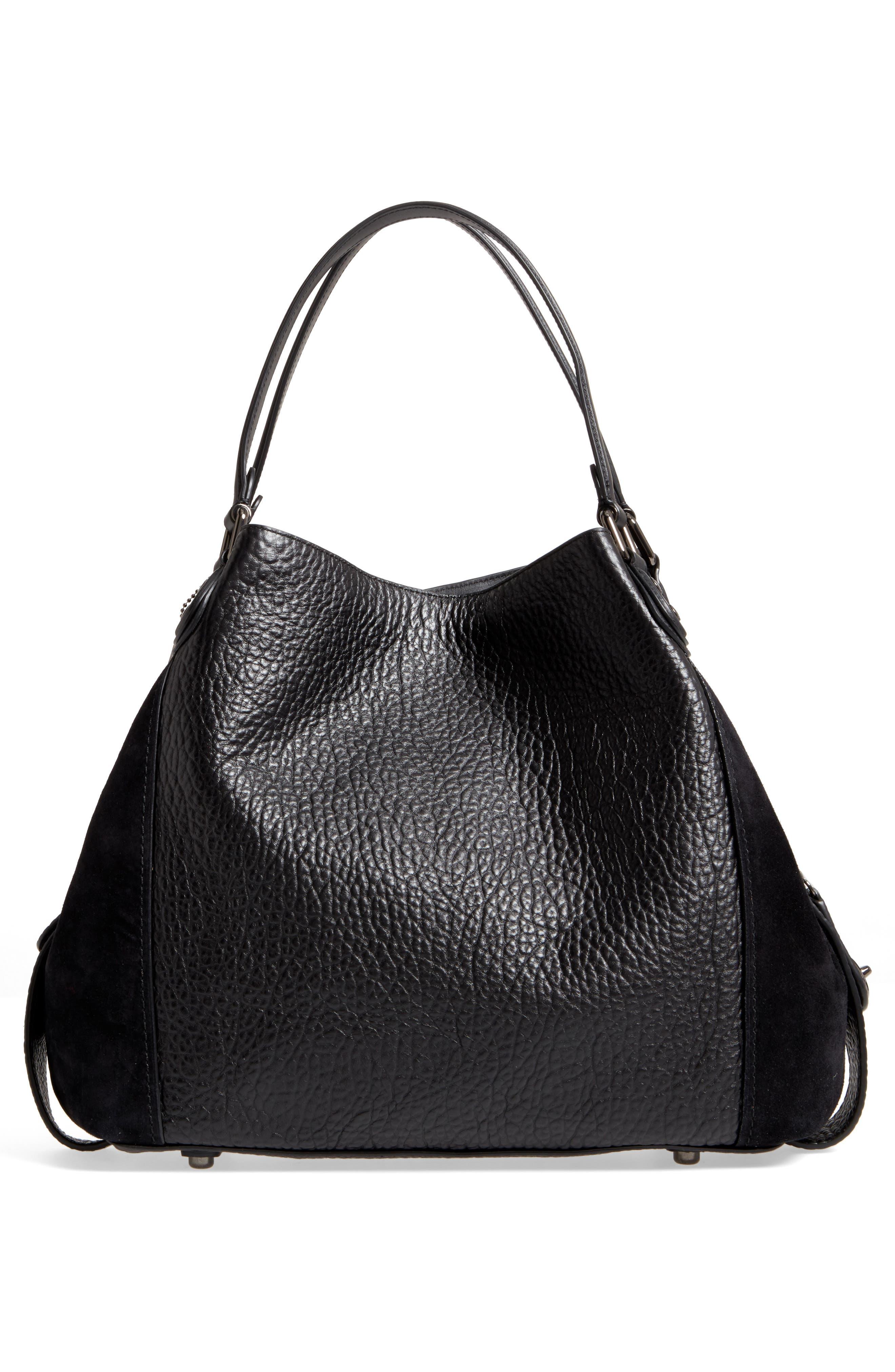 Edie 42 Leather & Suede Shoulder Bag,                             Alternate thumbnail 3, color,                             Black