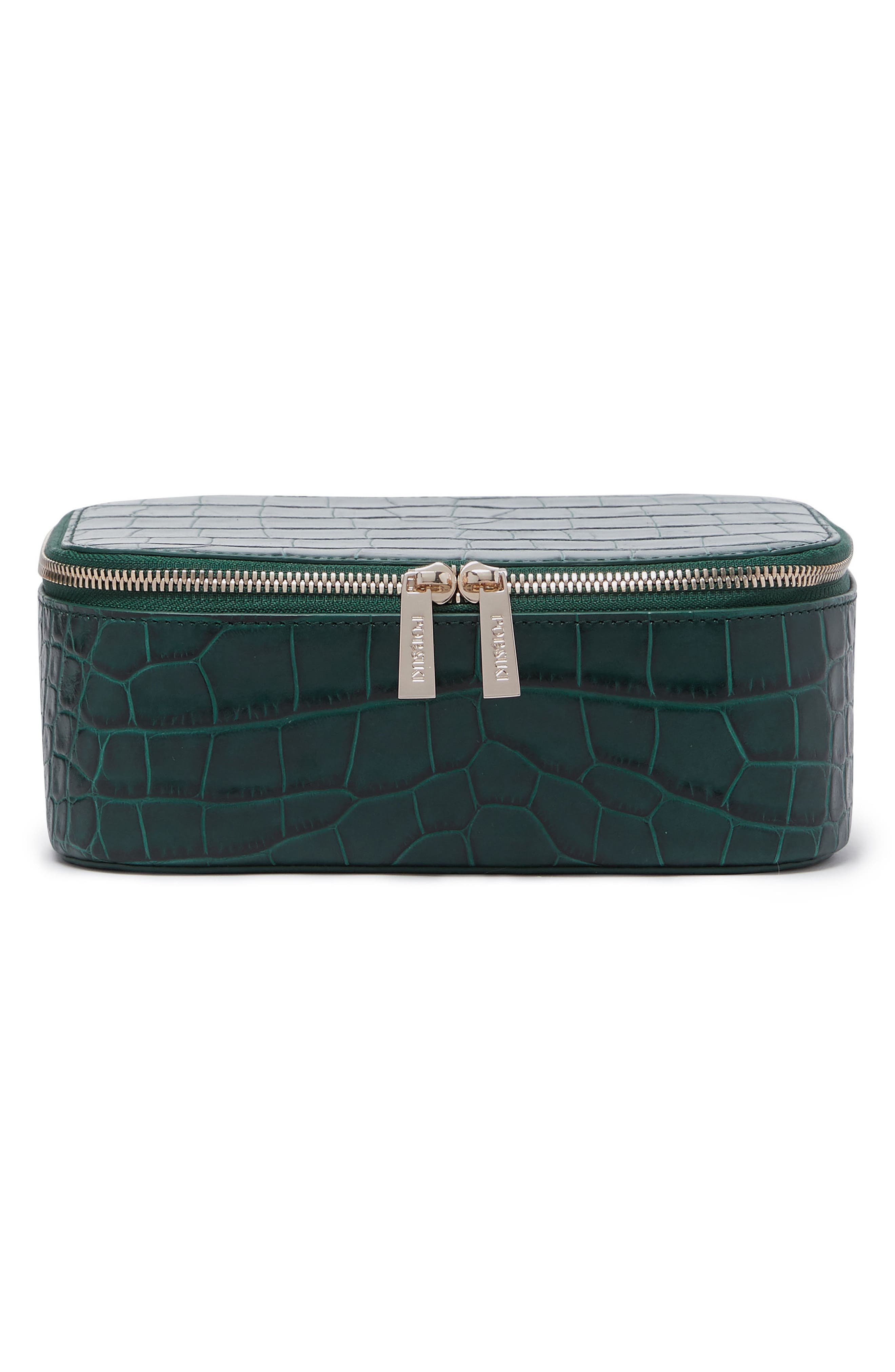 Bigger Croc Embossed Leather Makeup Case,                         Main,                         color, Emerald