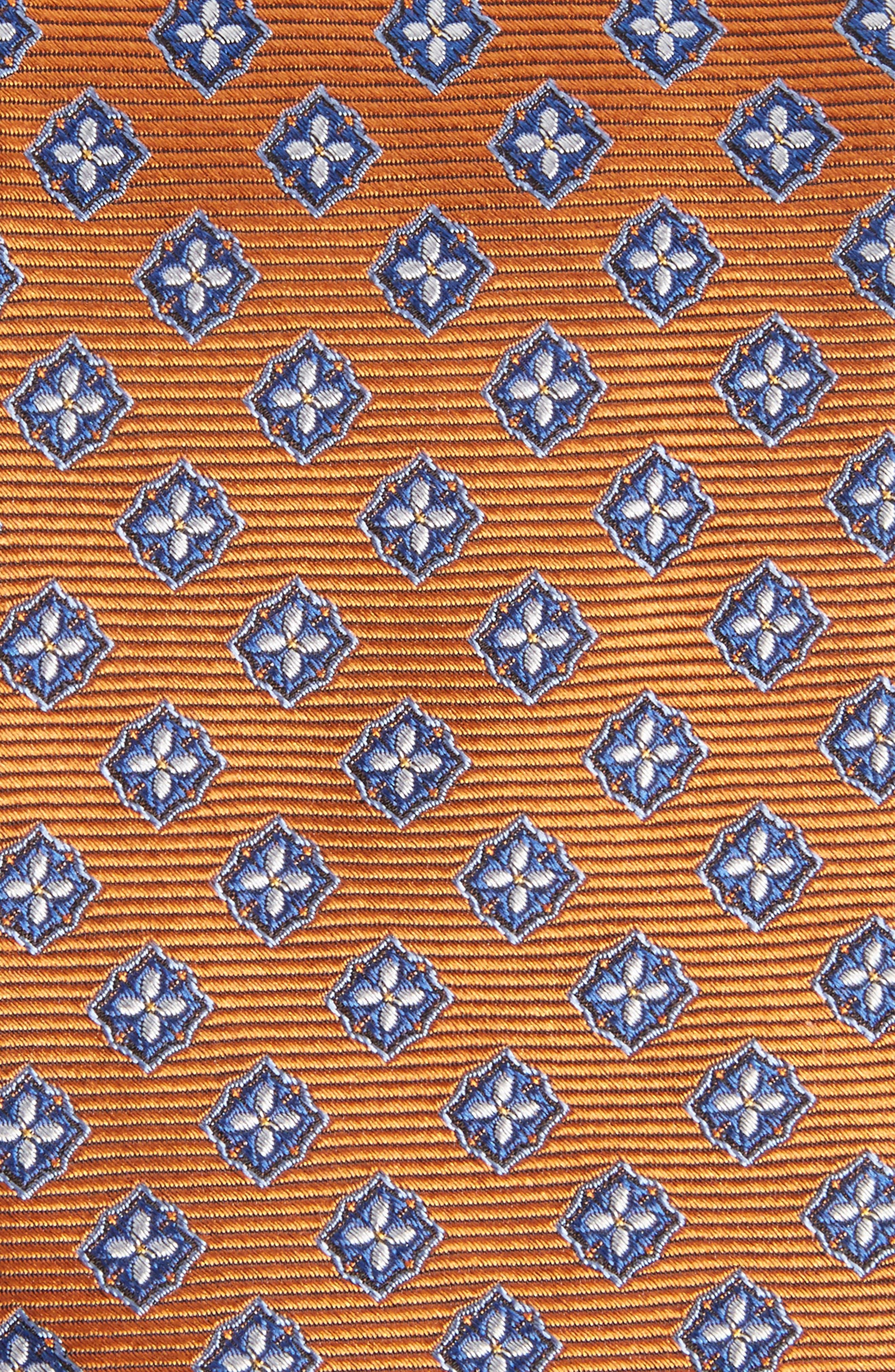Medallion Silk Tie,                             Alternate thumbnail 2, color,                             Orange
