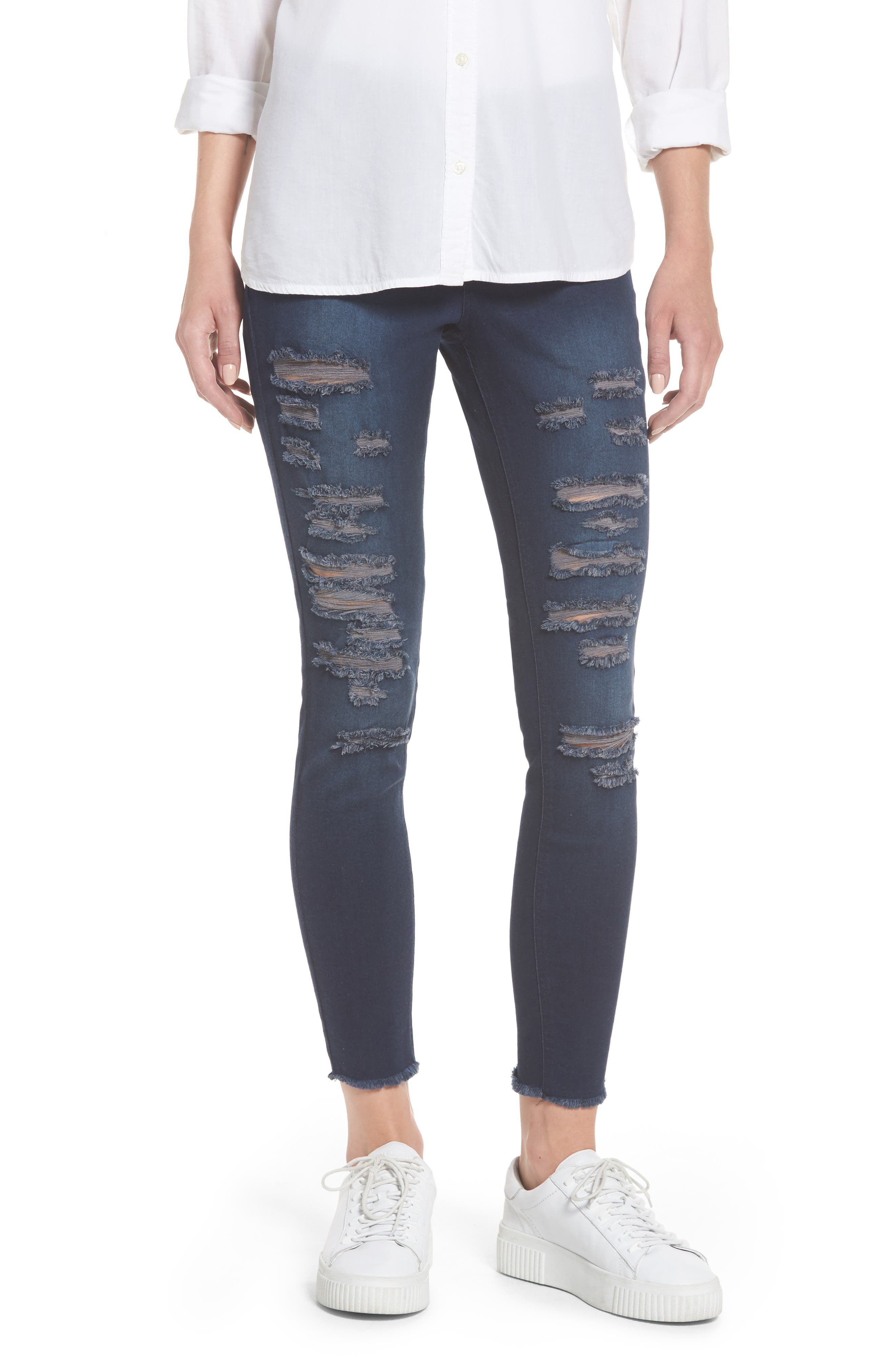 Ripped Denim Skimmer Leggings,                             Main thumbnail 1, color,                             Midnight Rinse Wash