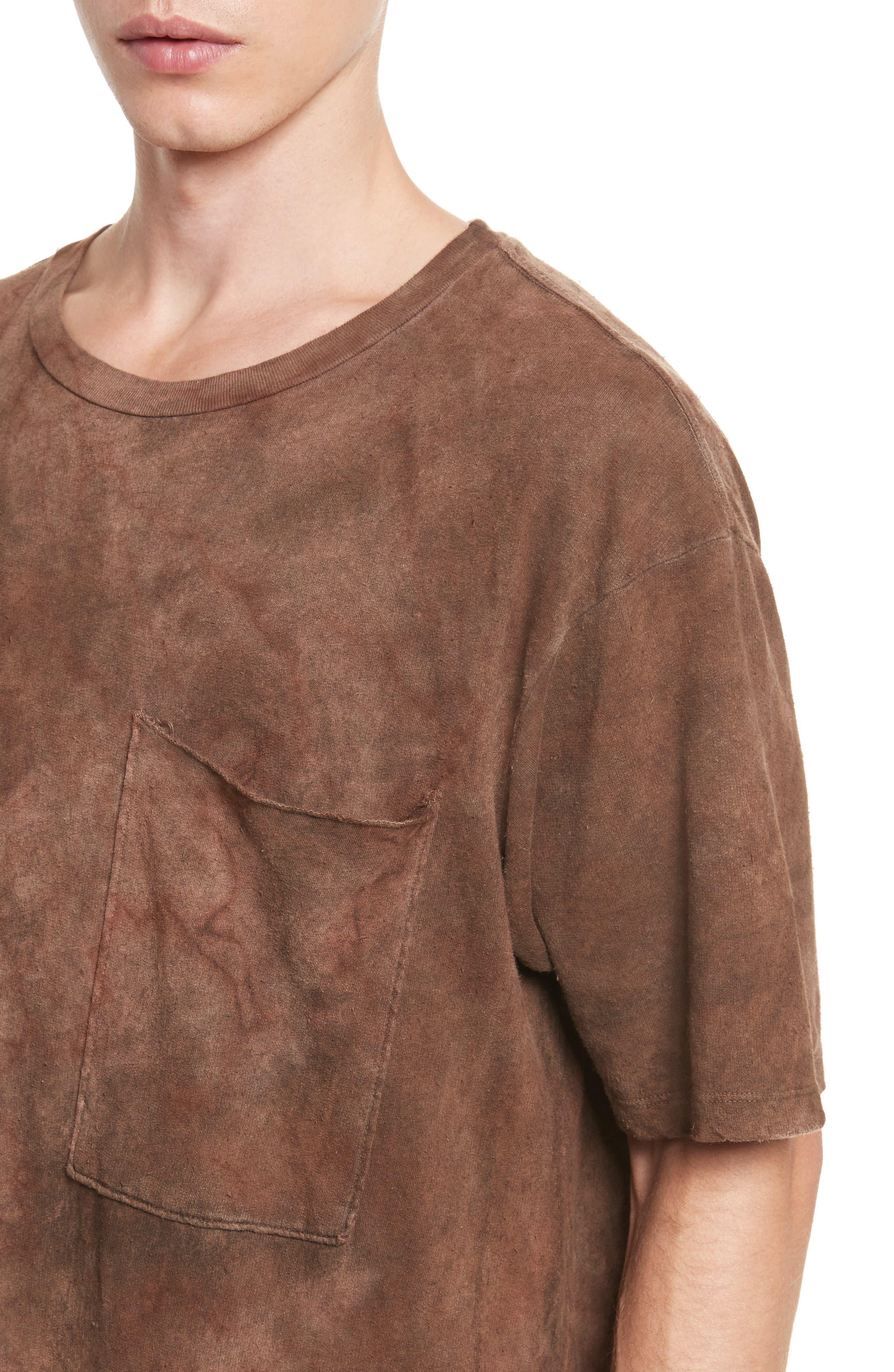 Granite Tie Dye Linen Blend T-Shirt,                             Alternate thumbnail 4, color,                             Sephia Rain