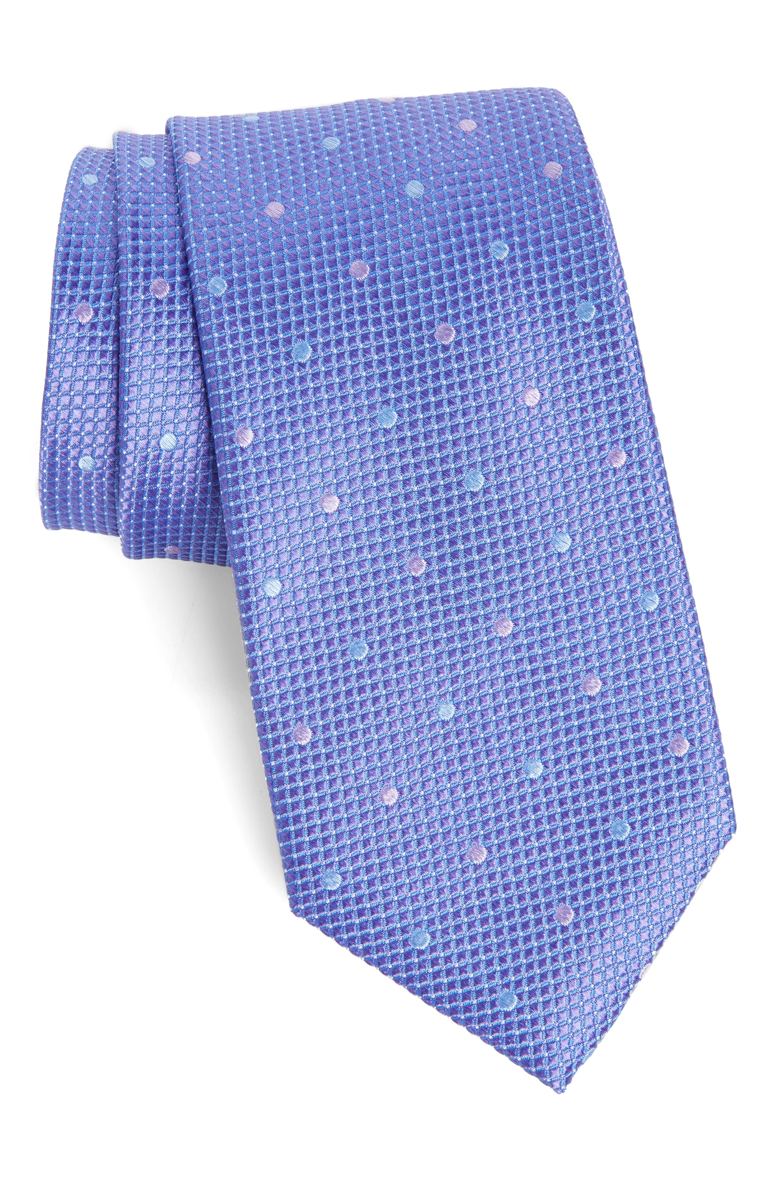 Dot Silk Tie,                         Main,                         color, Lavender