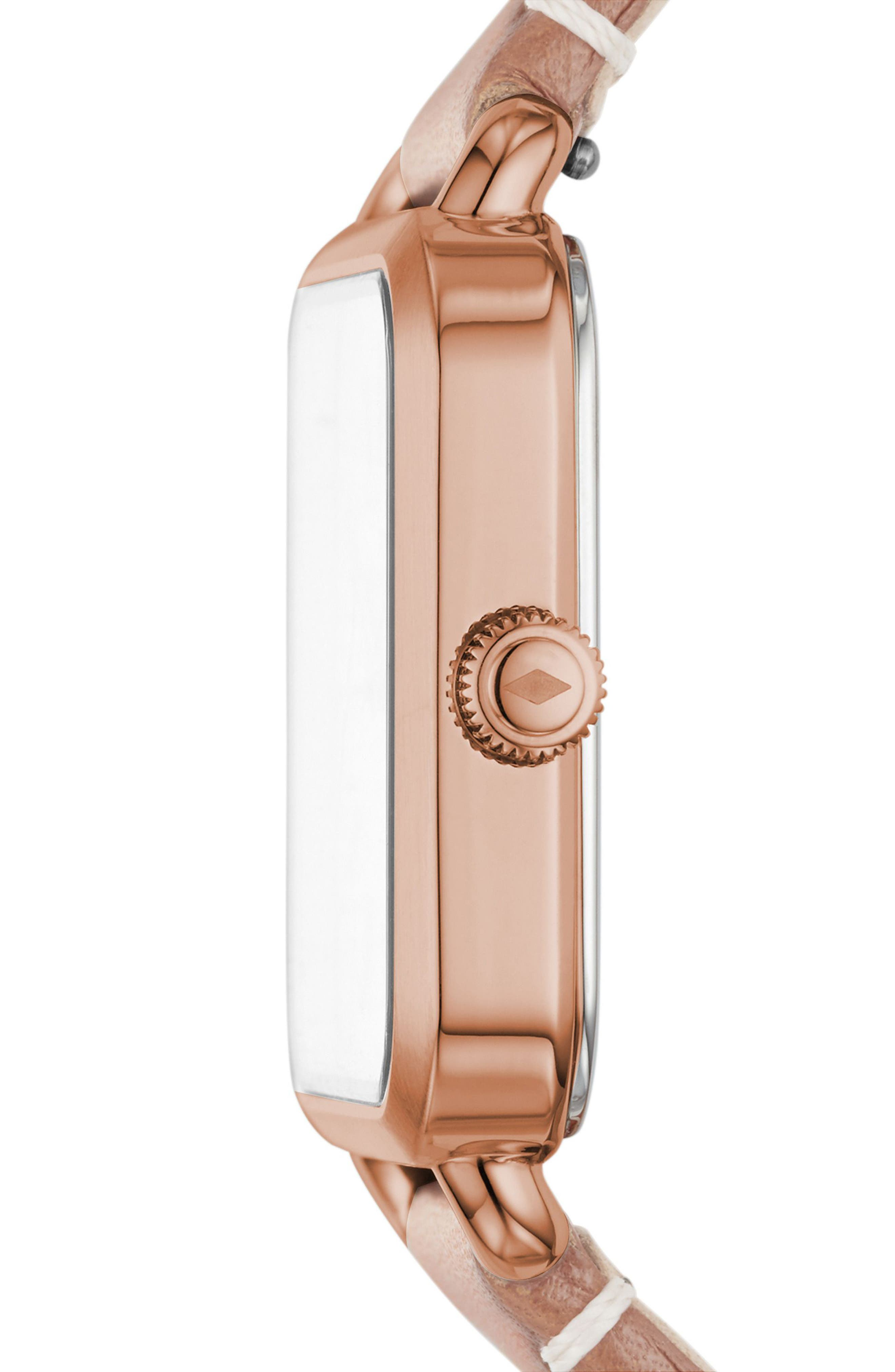 Micah Leather Strap Watch, 32mm x 32mm,                             Alternate thumbnail 2, color,                             Beige/ White/ Rose Gold