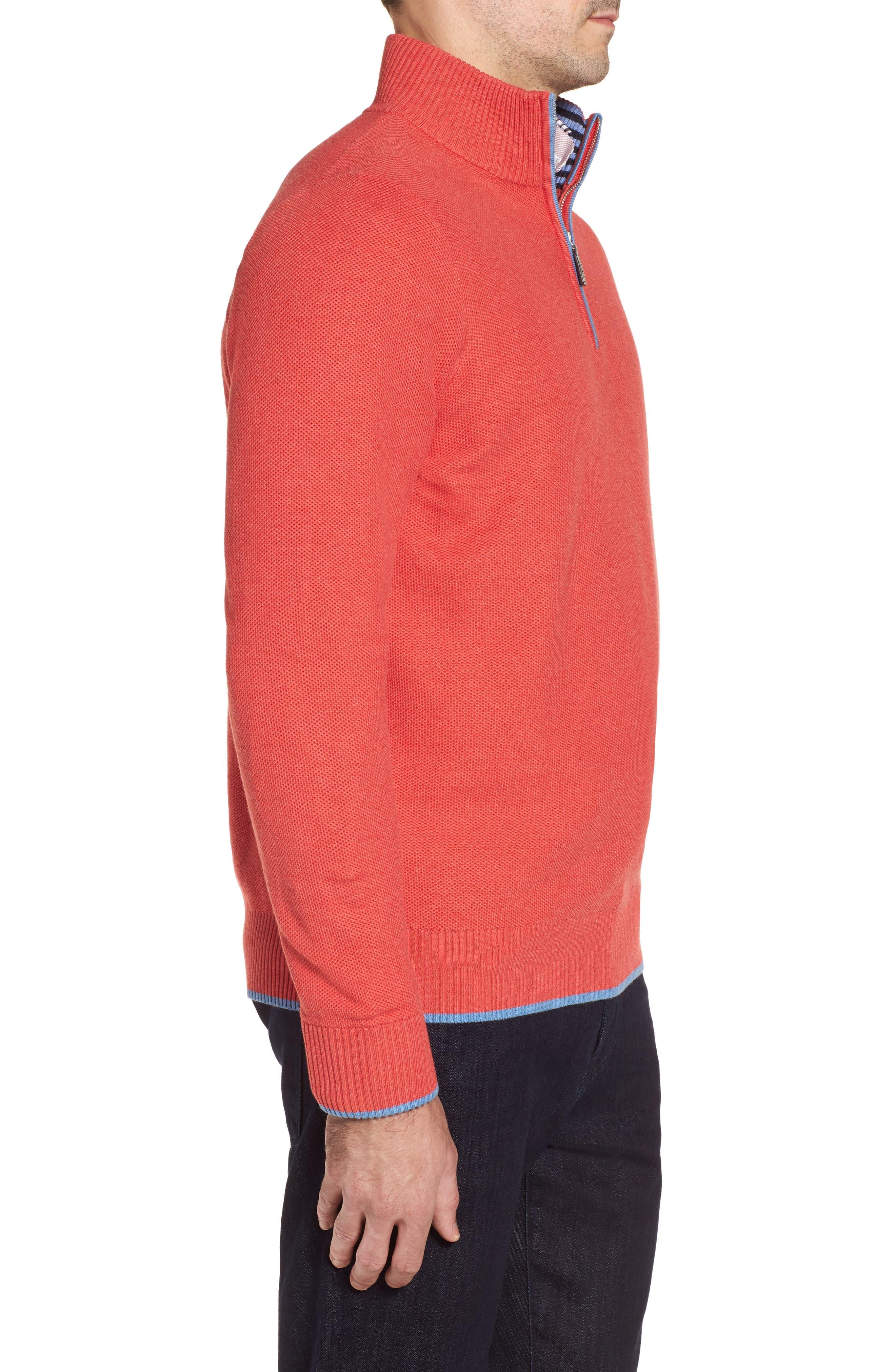 Sorrel Tipped Quarter Zip Sweater,                             Alternate thumbnail 3, color,                             Coral