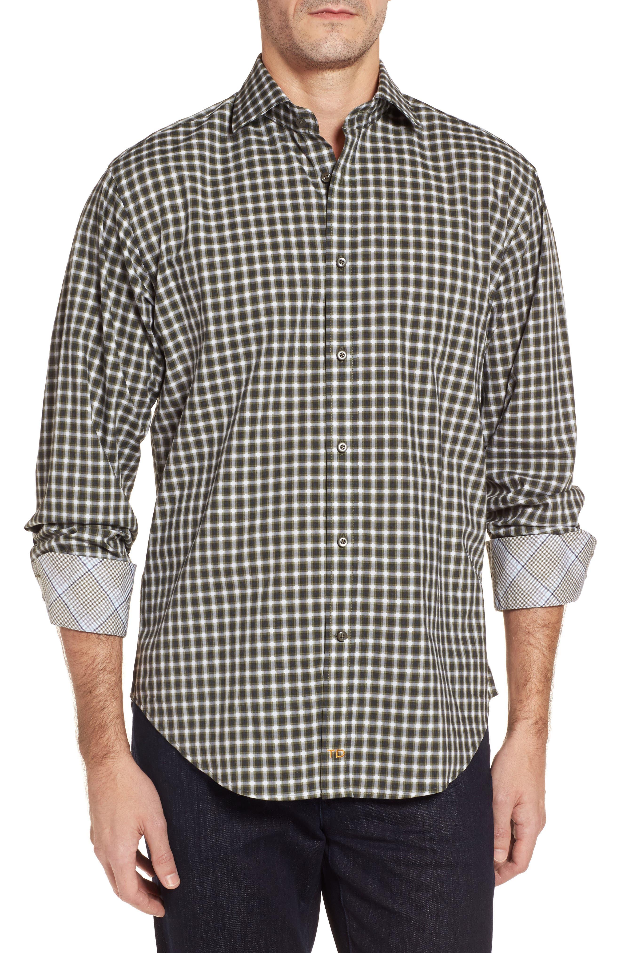 Regular Fit Gradient Check Sport Shirt,                         Main,                         color, Green