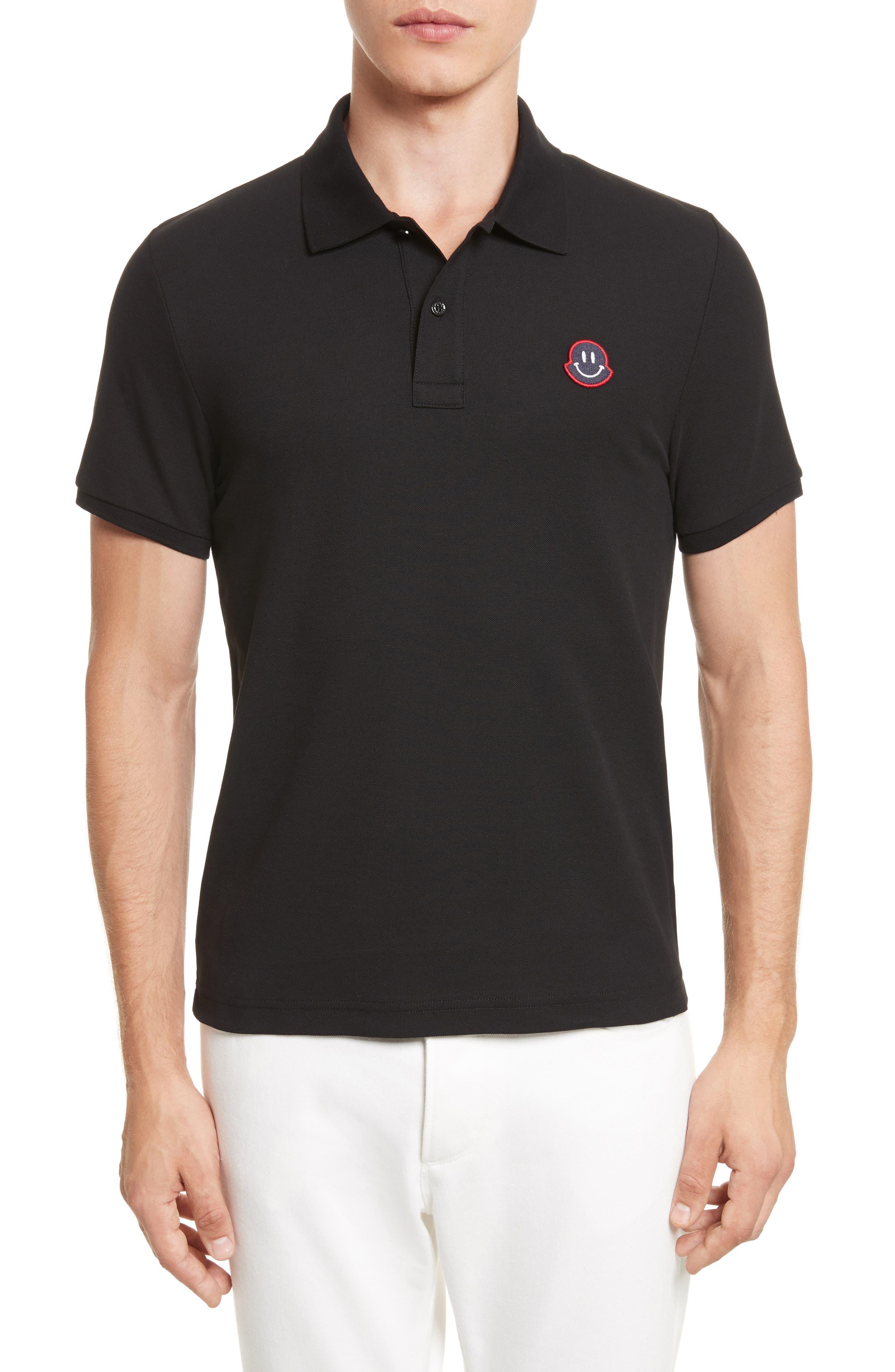 Smile Logo Piqué Polo,                         Main,                         color, Black