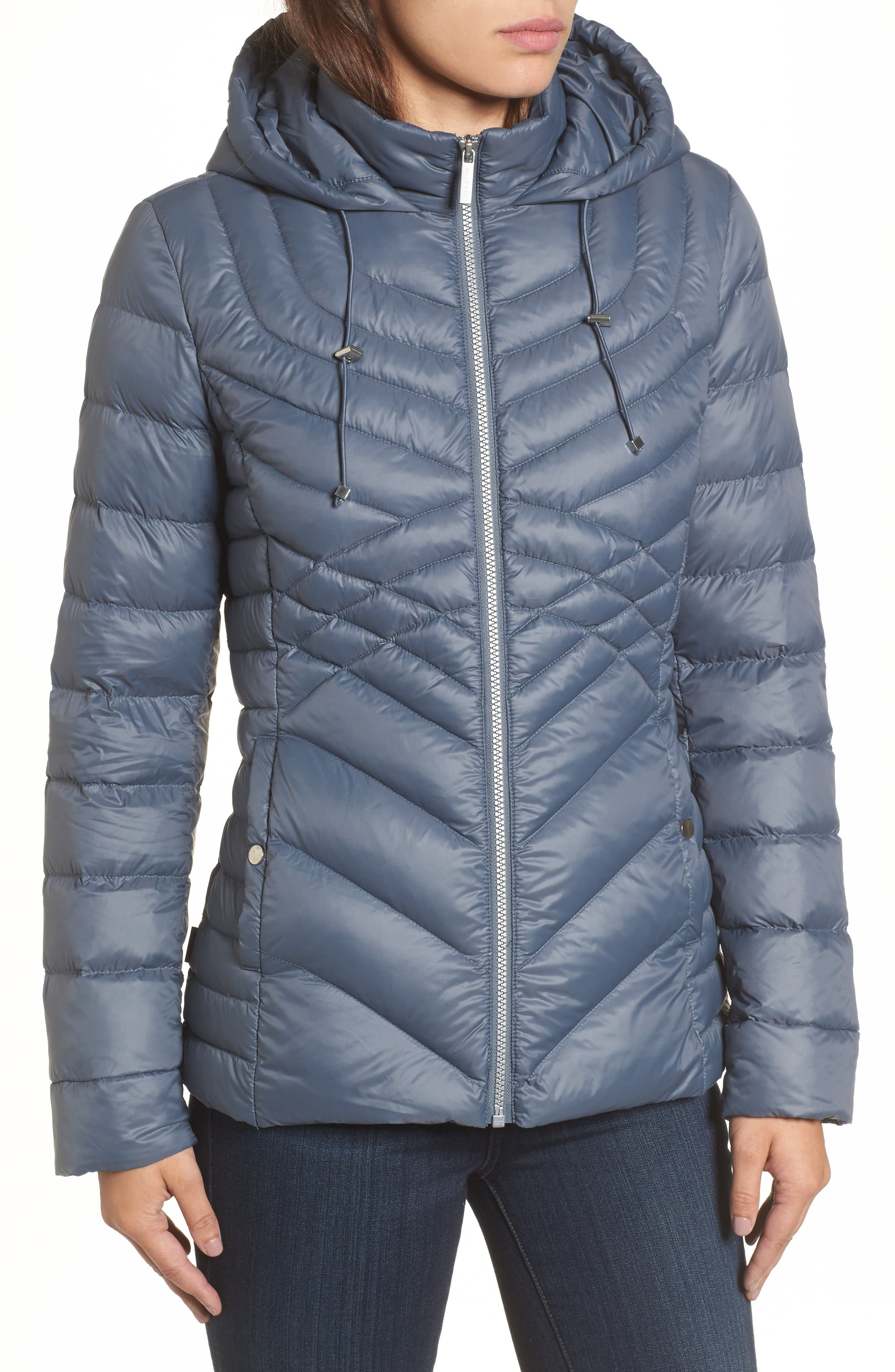 Hooded Down Blend Puffer Jacket,                             Alternate thumbnail 4, color,                             Ice Blue
