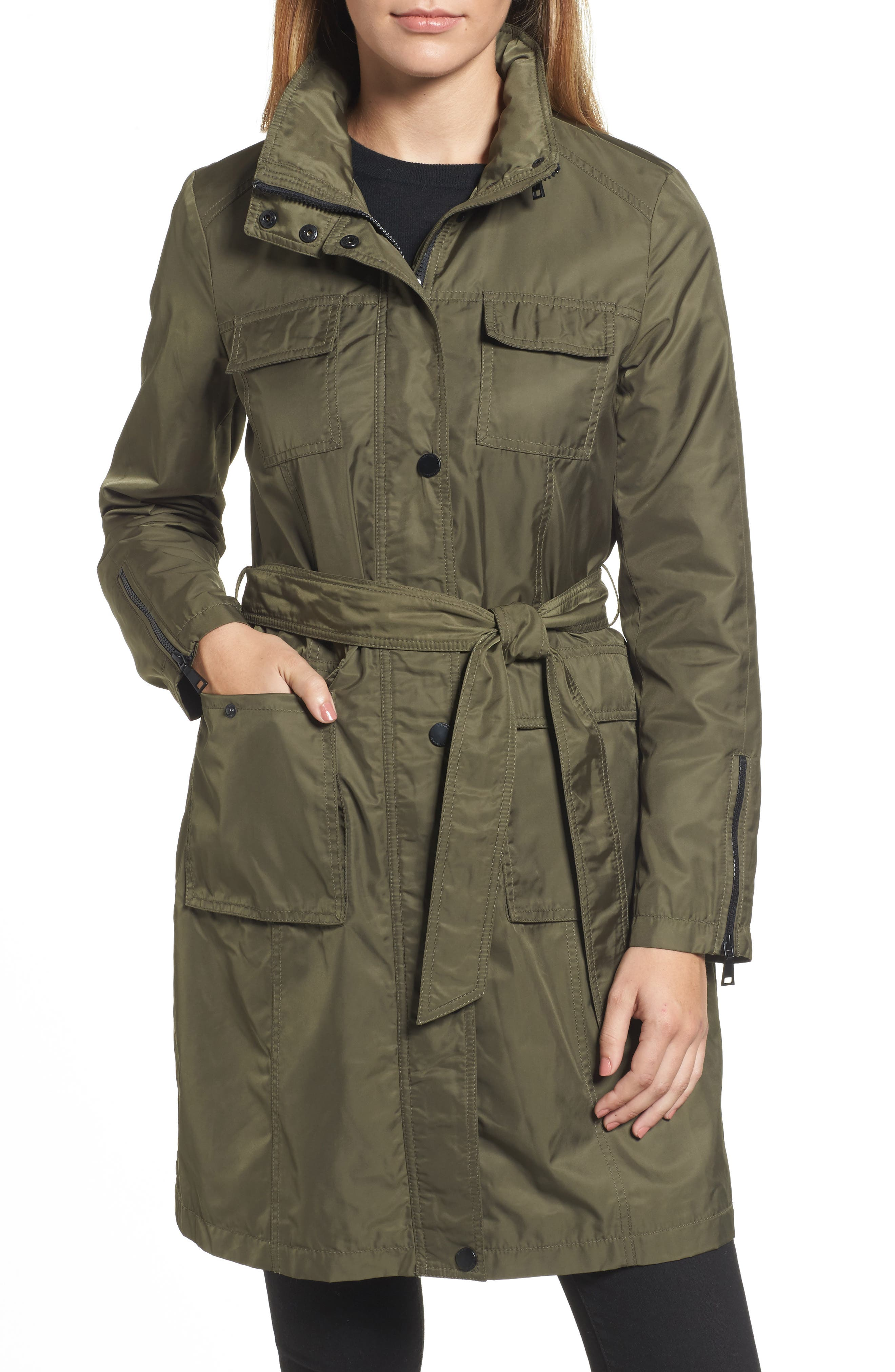 Giselle Stowaway Hood Rain Anorak,                         Main,                         color, Olive