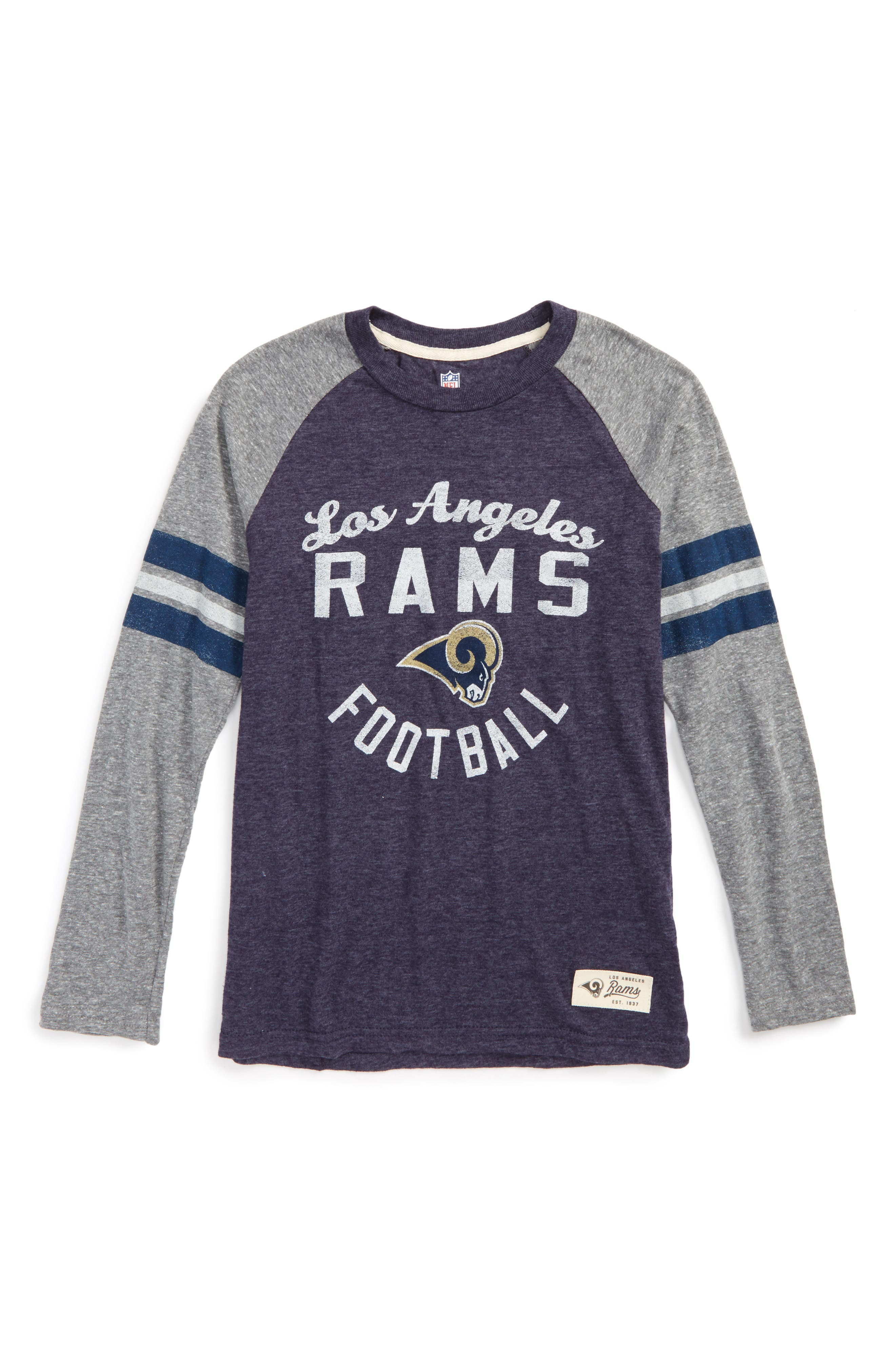 NFL Los Angeles Rams Distressed Logo T-Shirt,                         Main,                         color, Navy