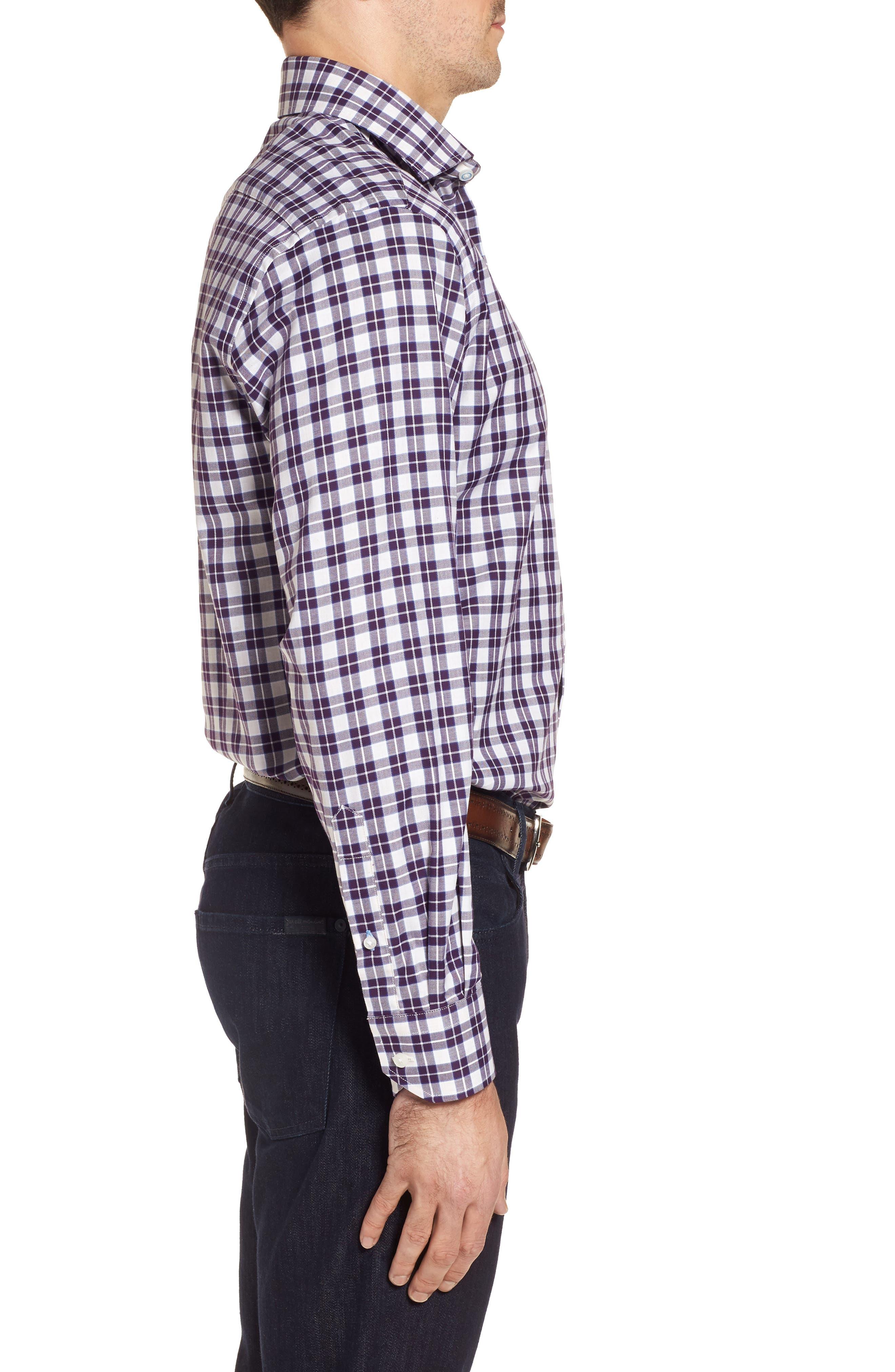 Cameron Regular Fit Plaid Sport Shirt,                             Alternate thumbnail 3, color,                             Purple