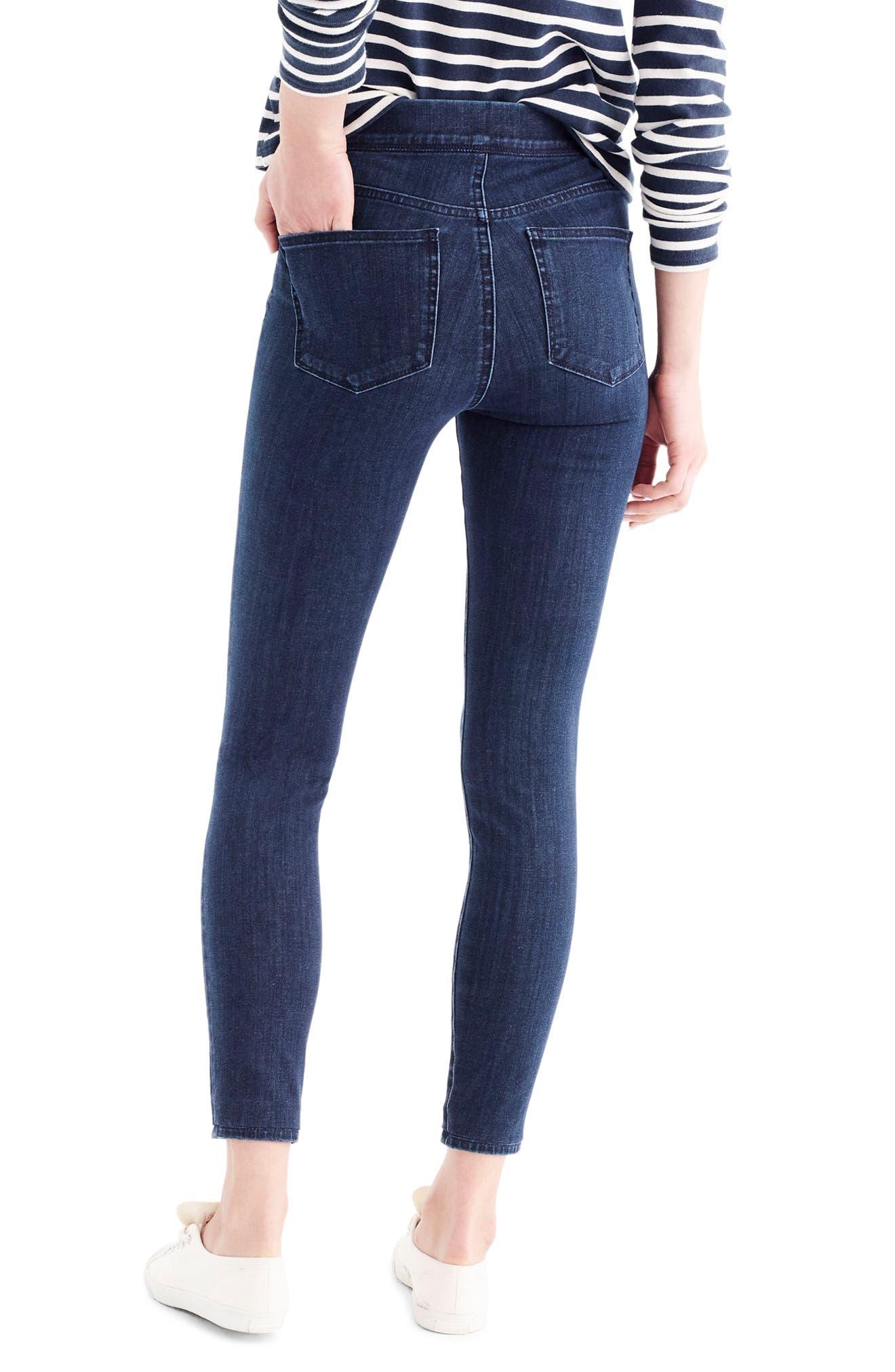 Alternate Image 2  - J.Crew Pull-On Toothpick Indigo Jeans (Regular & Petite)