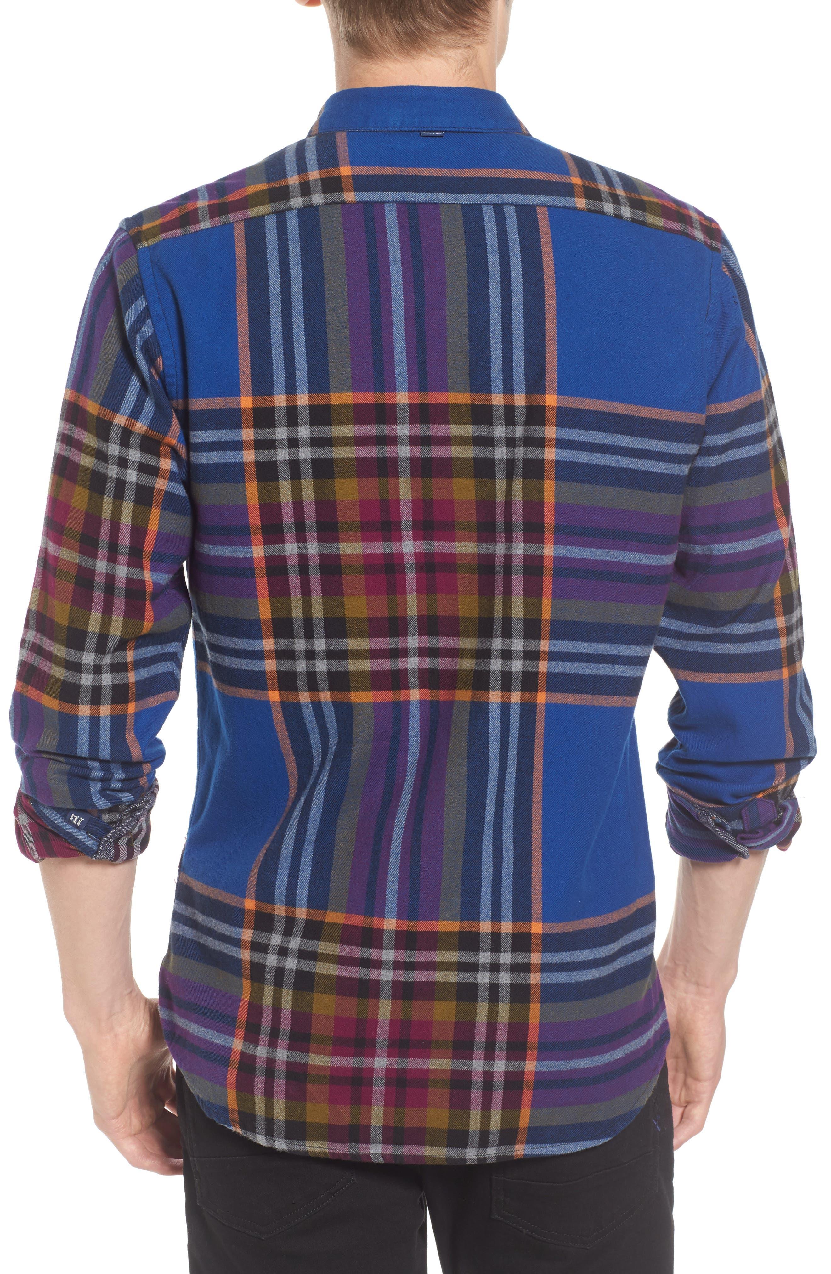 Brushed Flannel Plaid Shirt,                             Alternate thumbnail 2, color,                             Blue