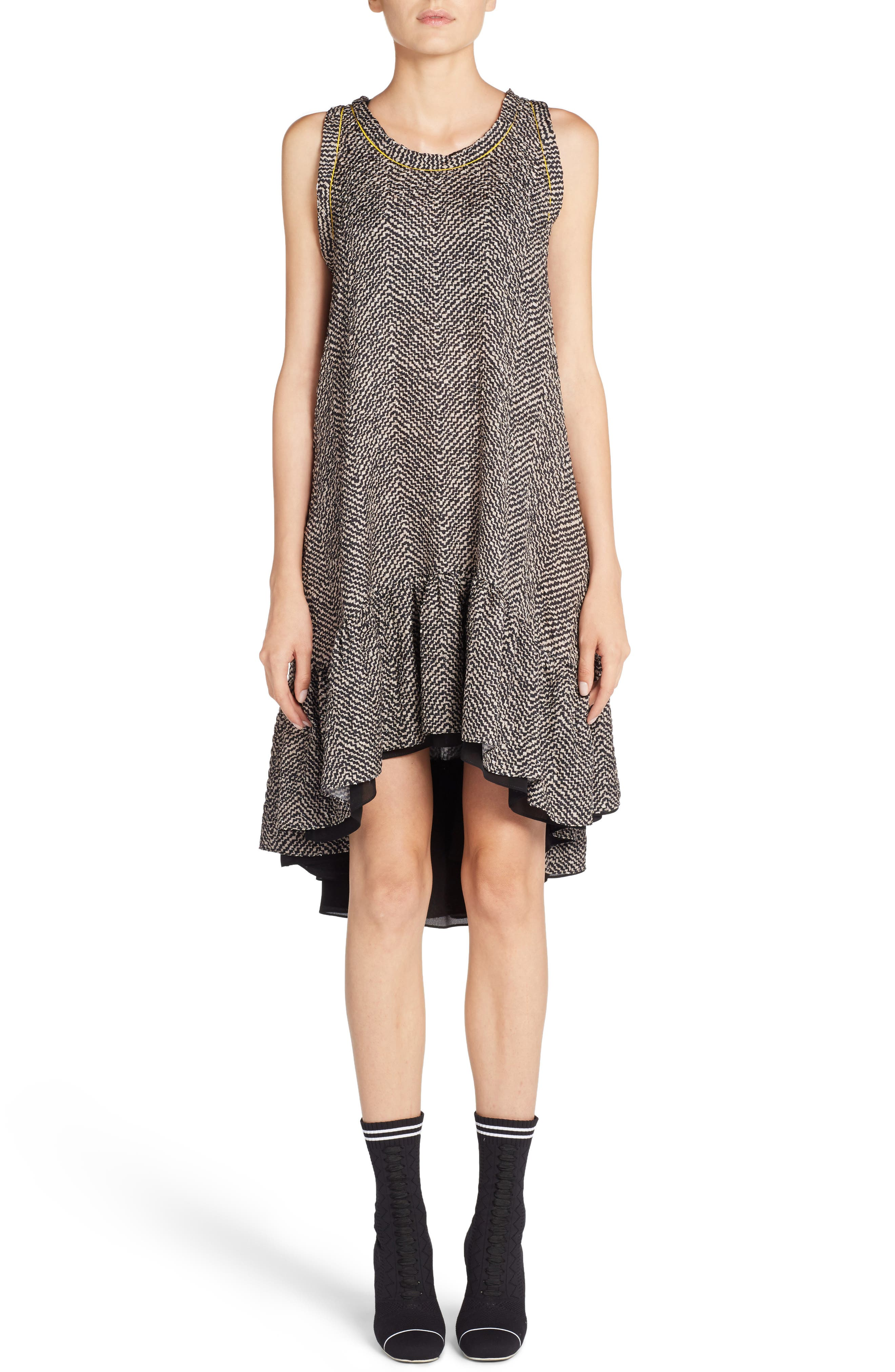 Main Image - Fendi Pop Chevron Cloqué Swing Dress