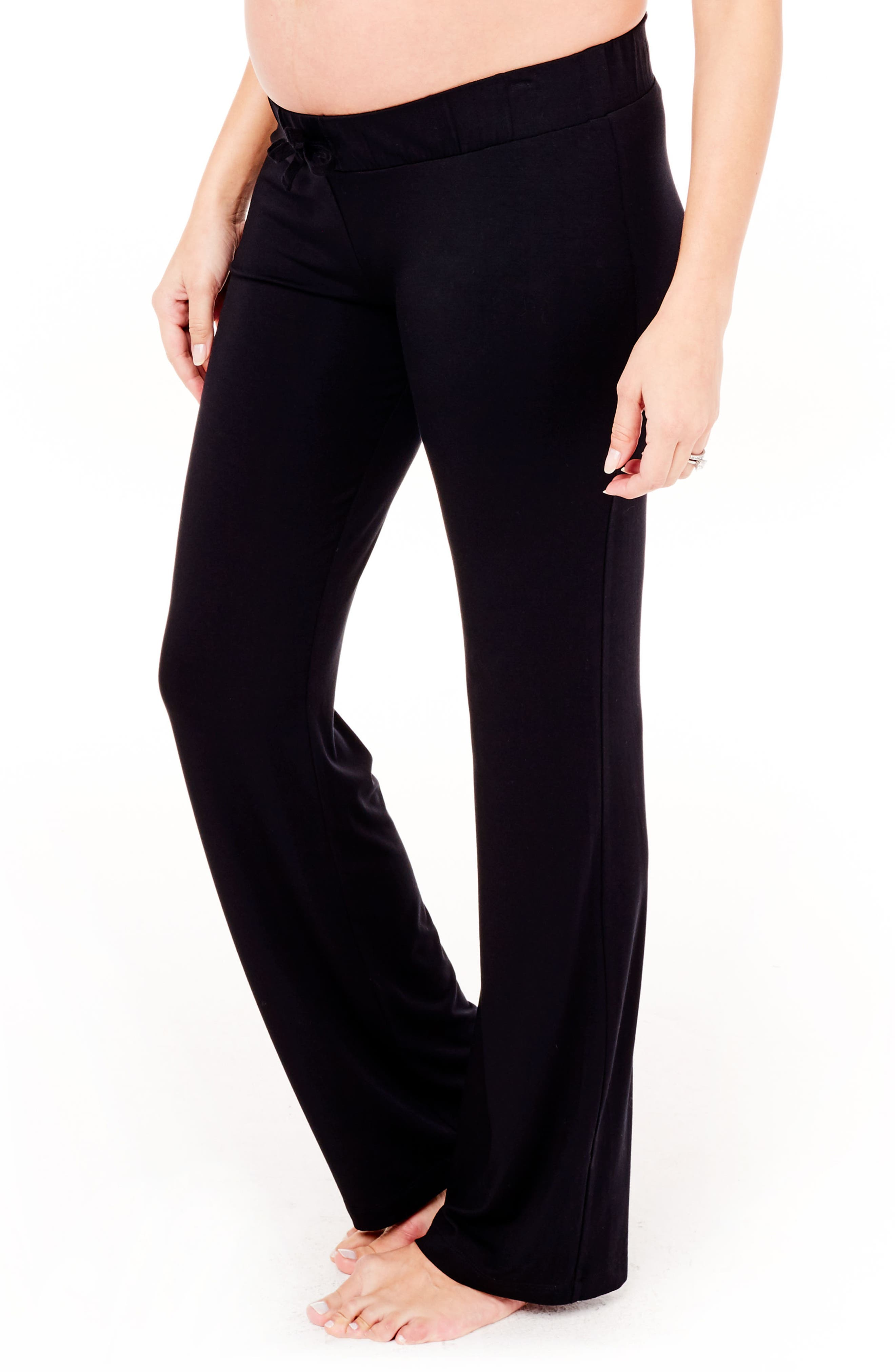 Maternity Lounge Pants,                             Alternate thumbnail 3, color,                             Jet Black