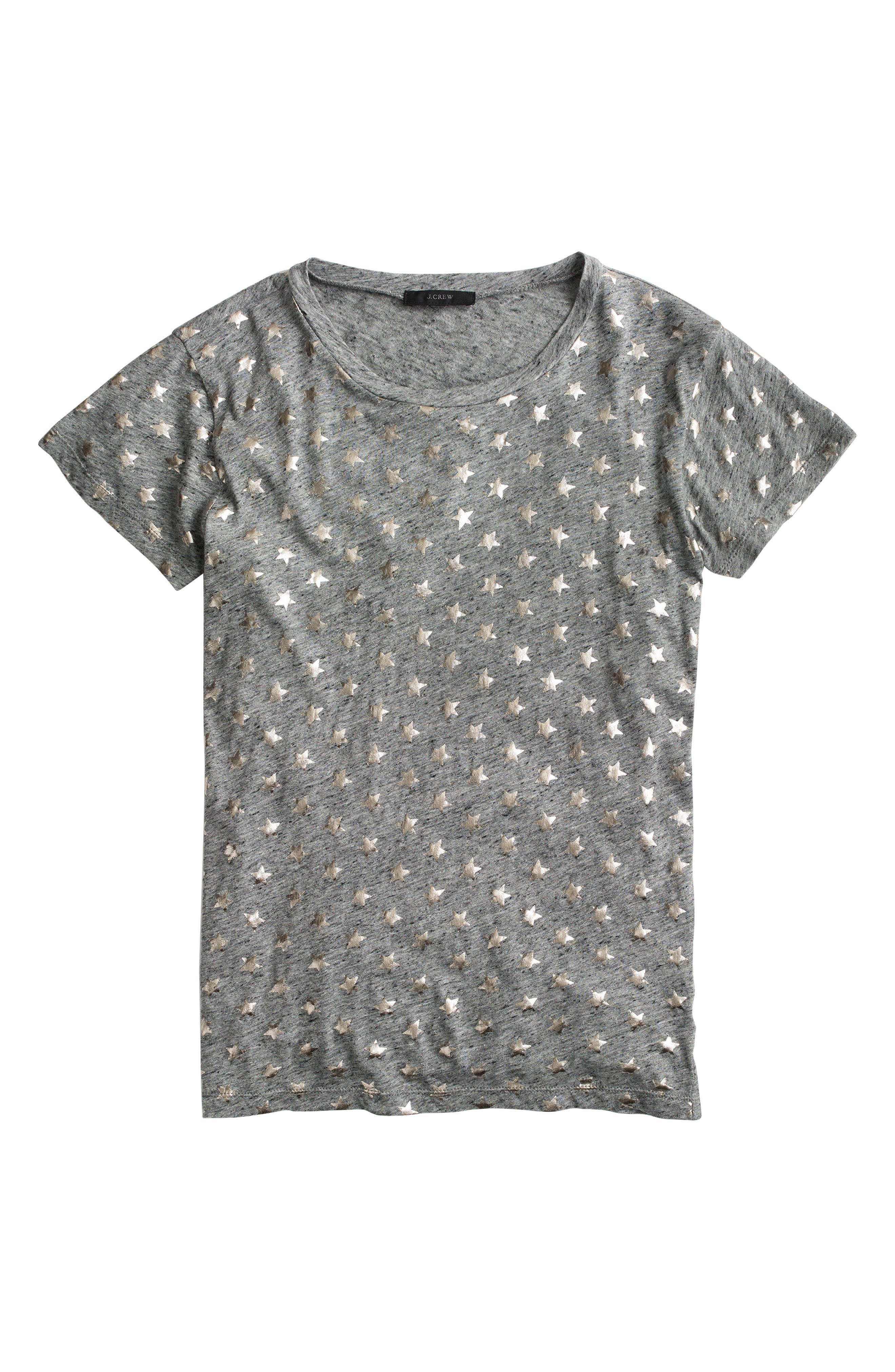 Metallic Stars Tee,                             Alternate thumbnail 3, color,                             Heather Flannel