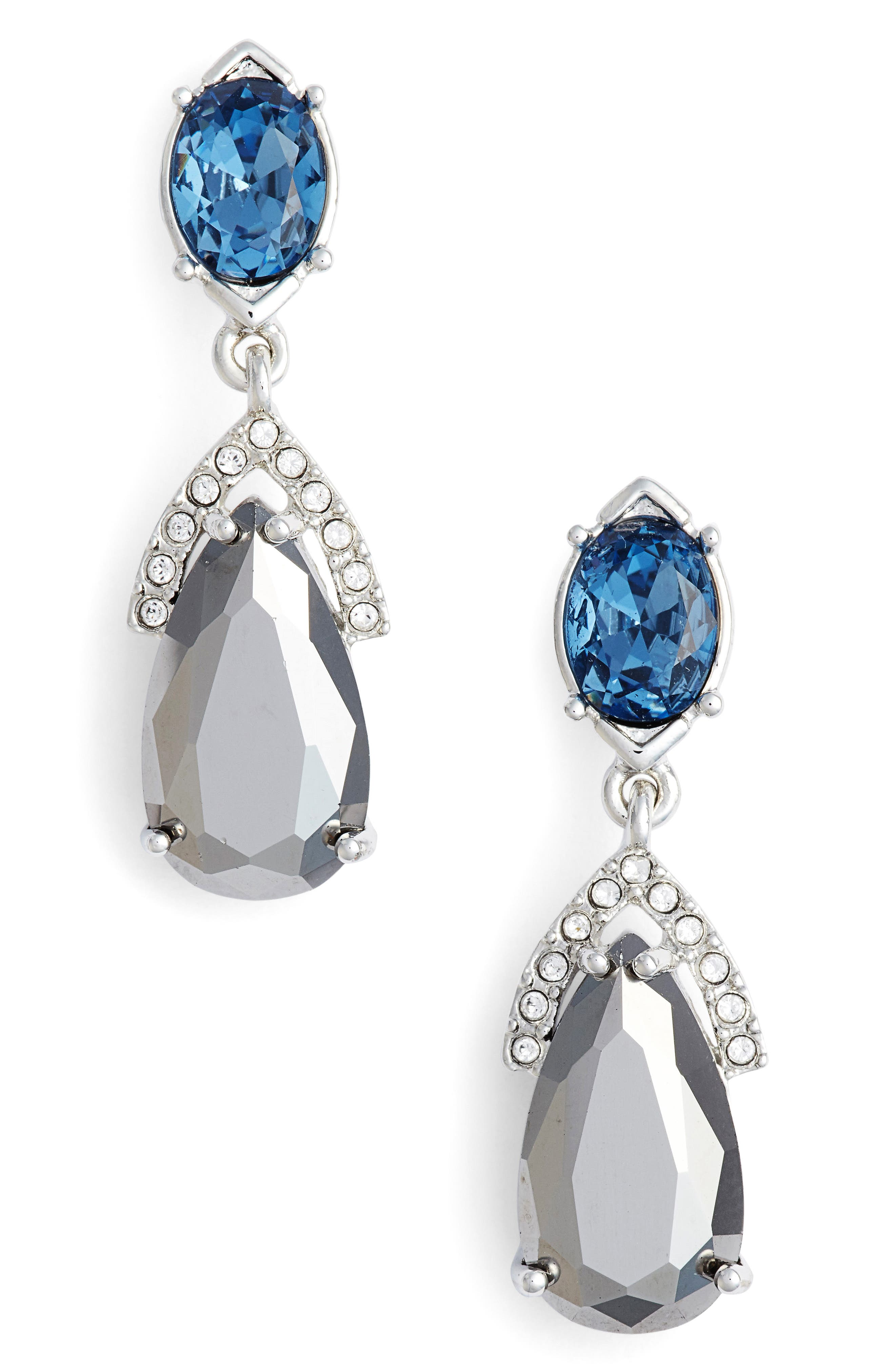 Double Drop Earrings,                         Main,                         color, Silver/ Crystal/ Blue Multi