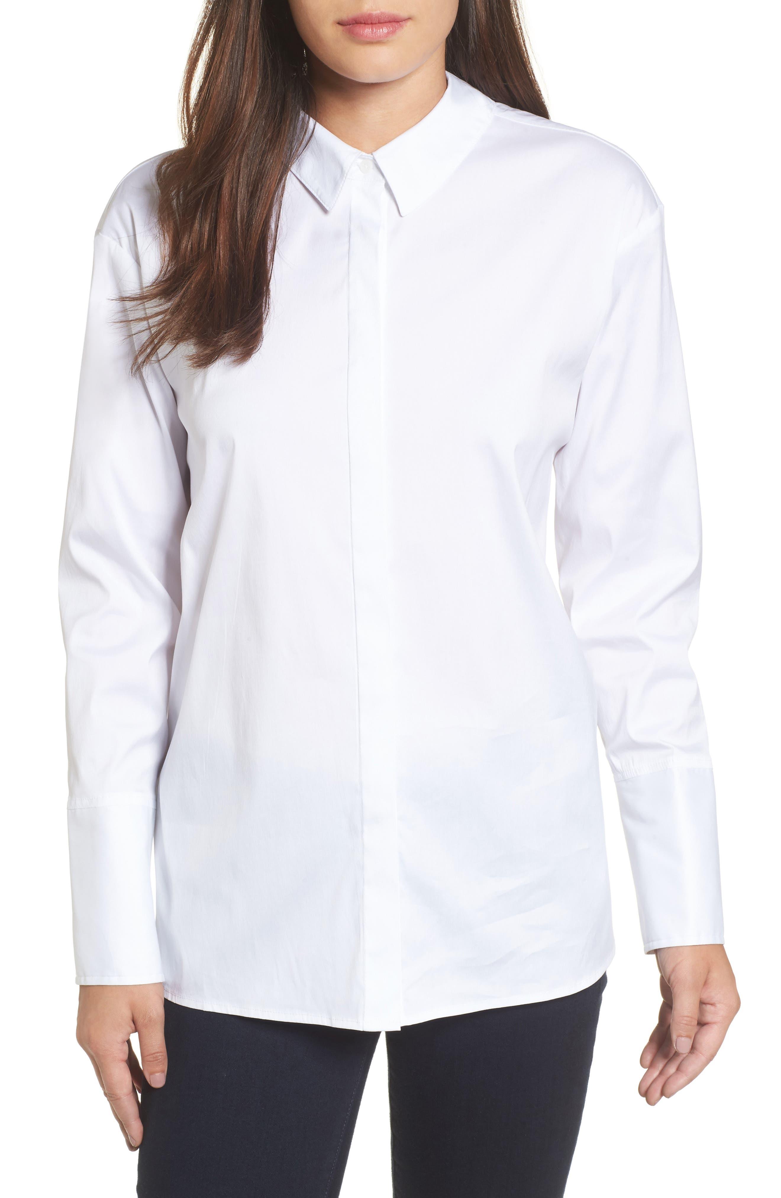 Halogen® Back Bow Poplin Shirt (Regular & Petite)