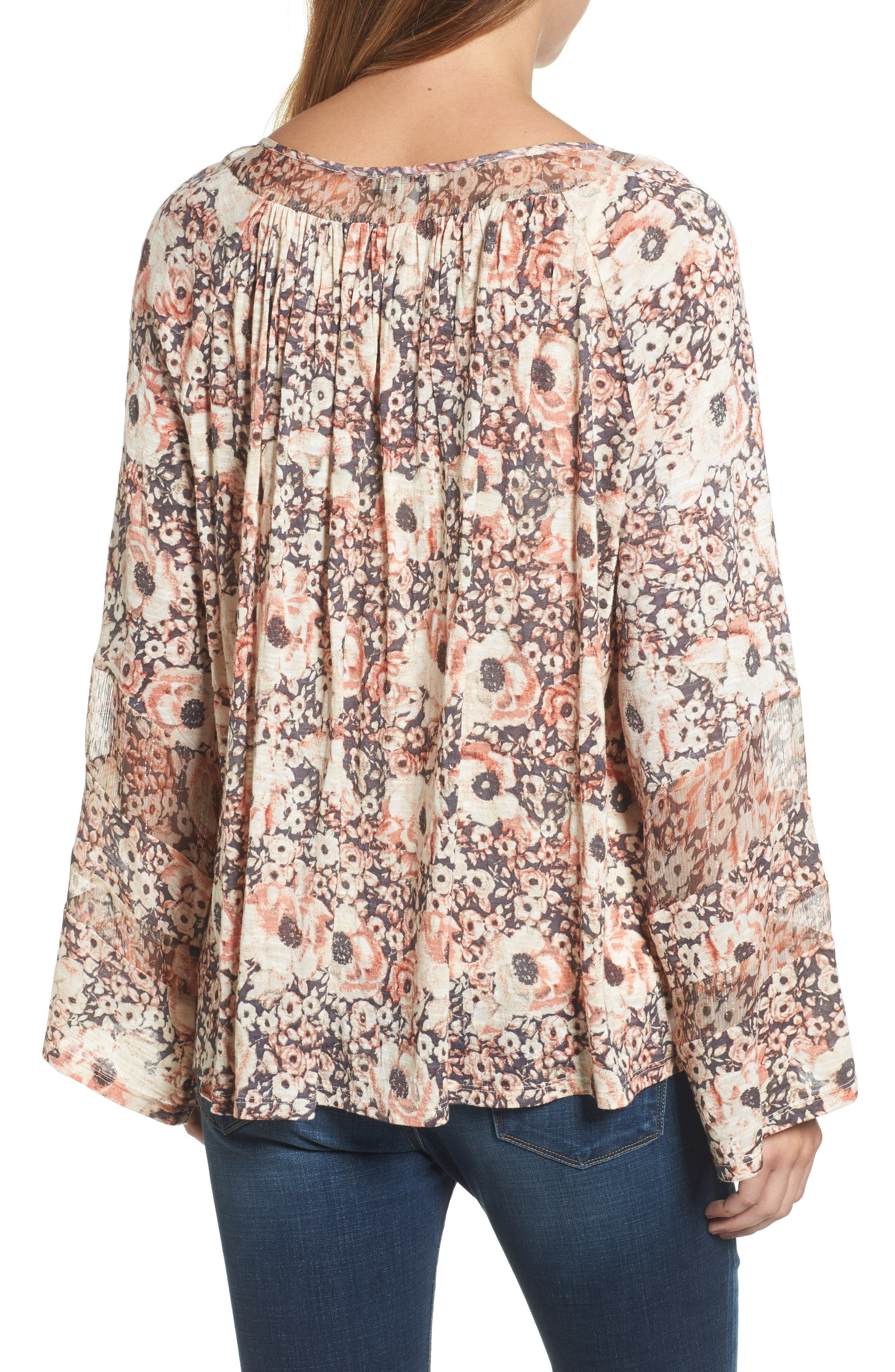 Alternate Image 2  - Lucky Brand Bell Sleeve Floral Mixed Media Top