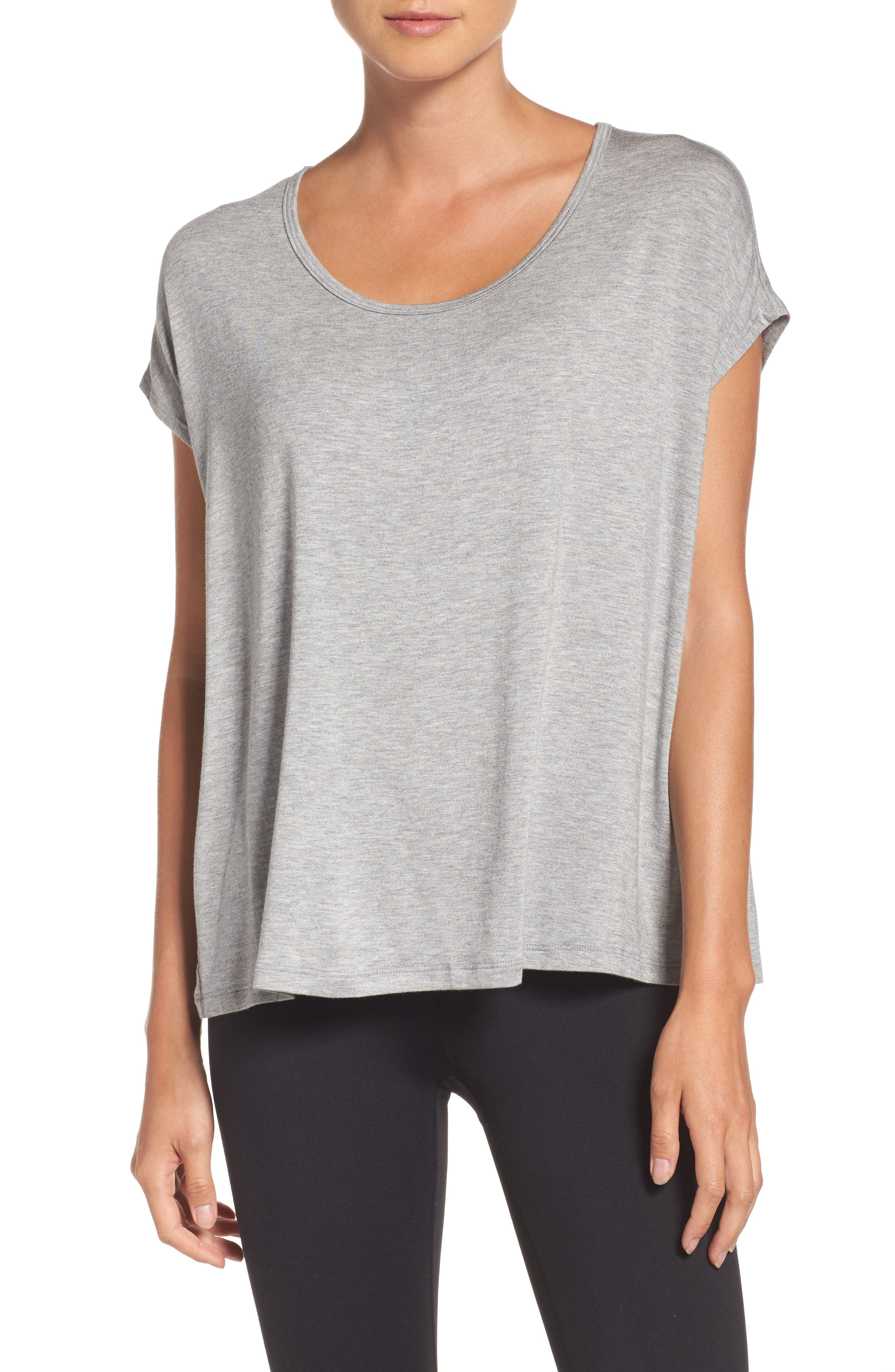 Back Out Cross Back Tee,                         Main,                         color, Light Heather Gray