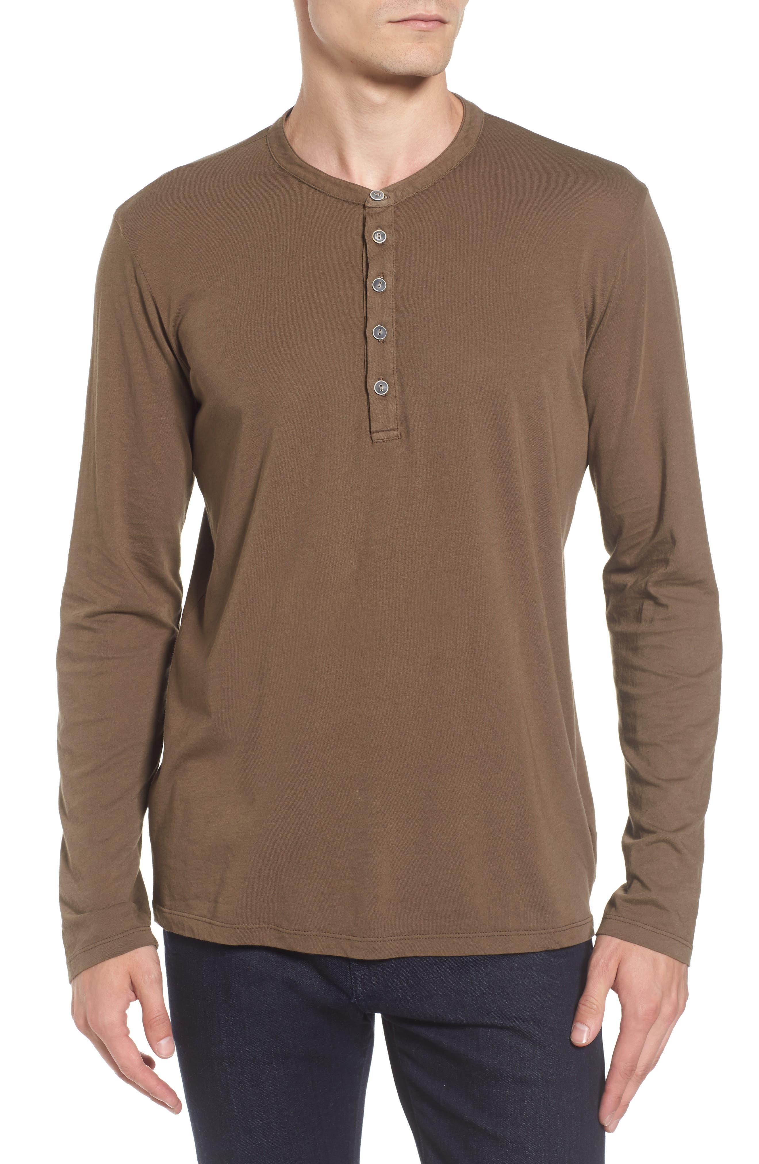 Slim Fit Long Sleeve Henley,                         Main,                         color, Conifer