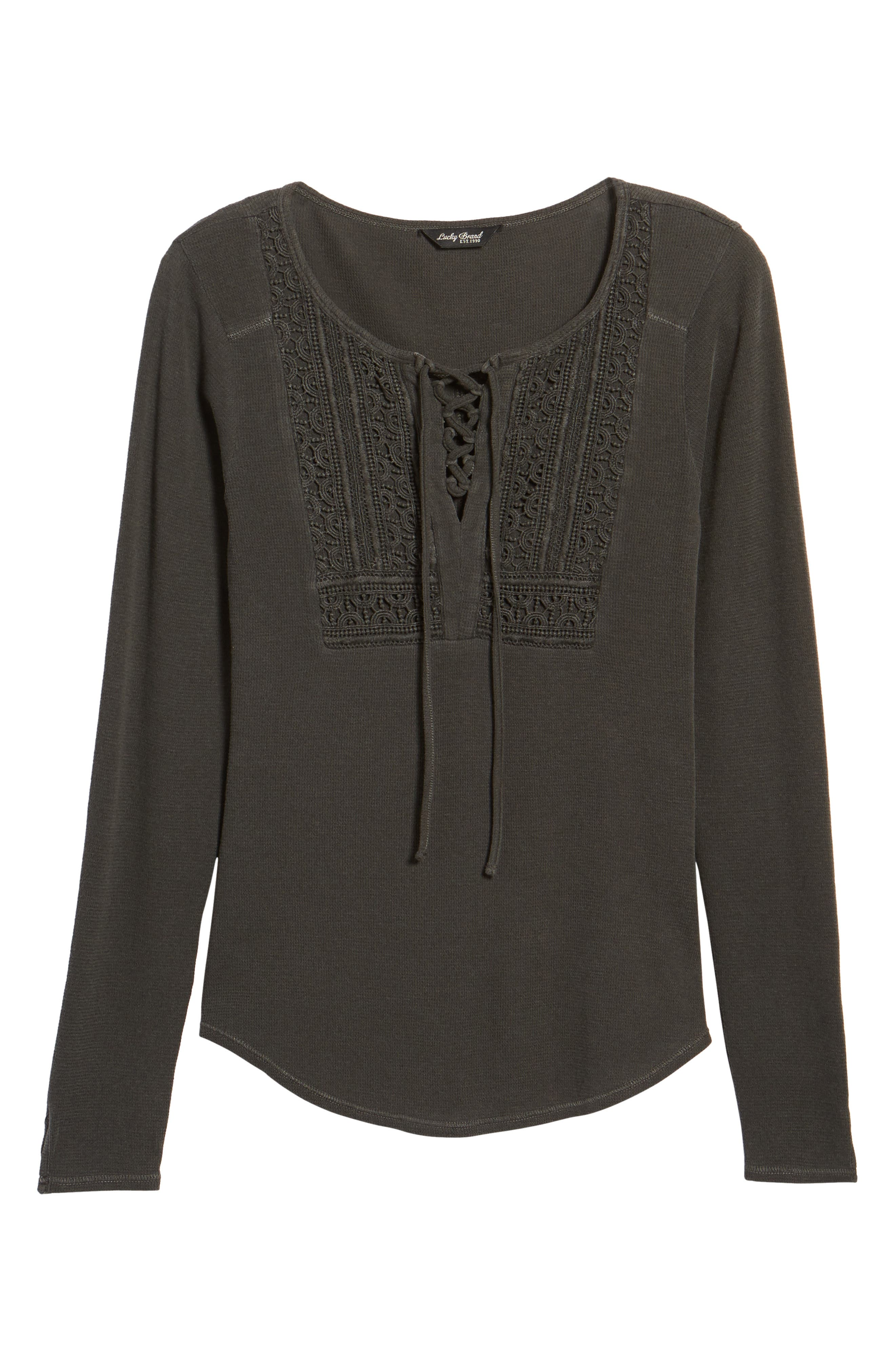 Lace-Up Bib Thermal Top,                             Alternate thumbnail 6, color,                             Lucky Black