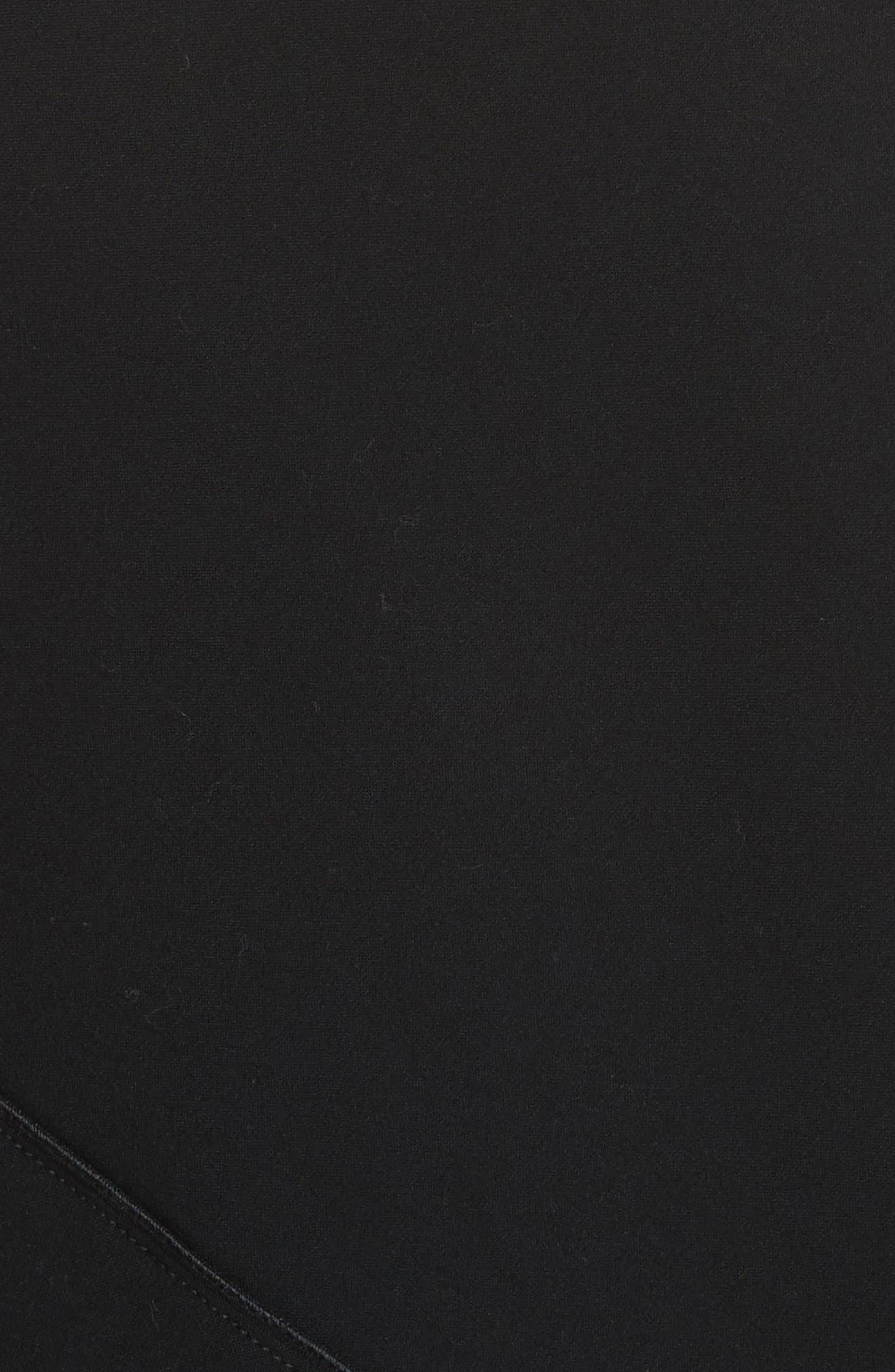 Double-Face Stretch Wool One-Shoulder Dress,                             Alternate thumbnail 6, color,                             Black