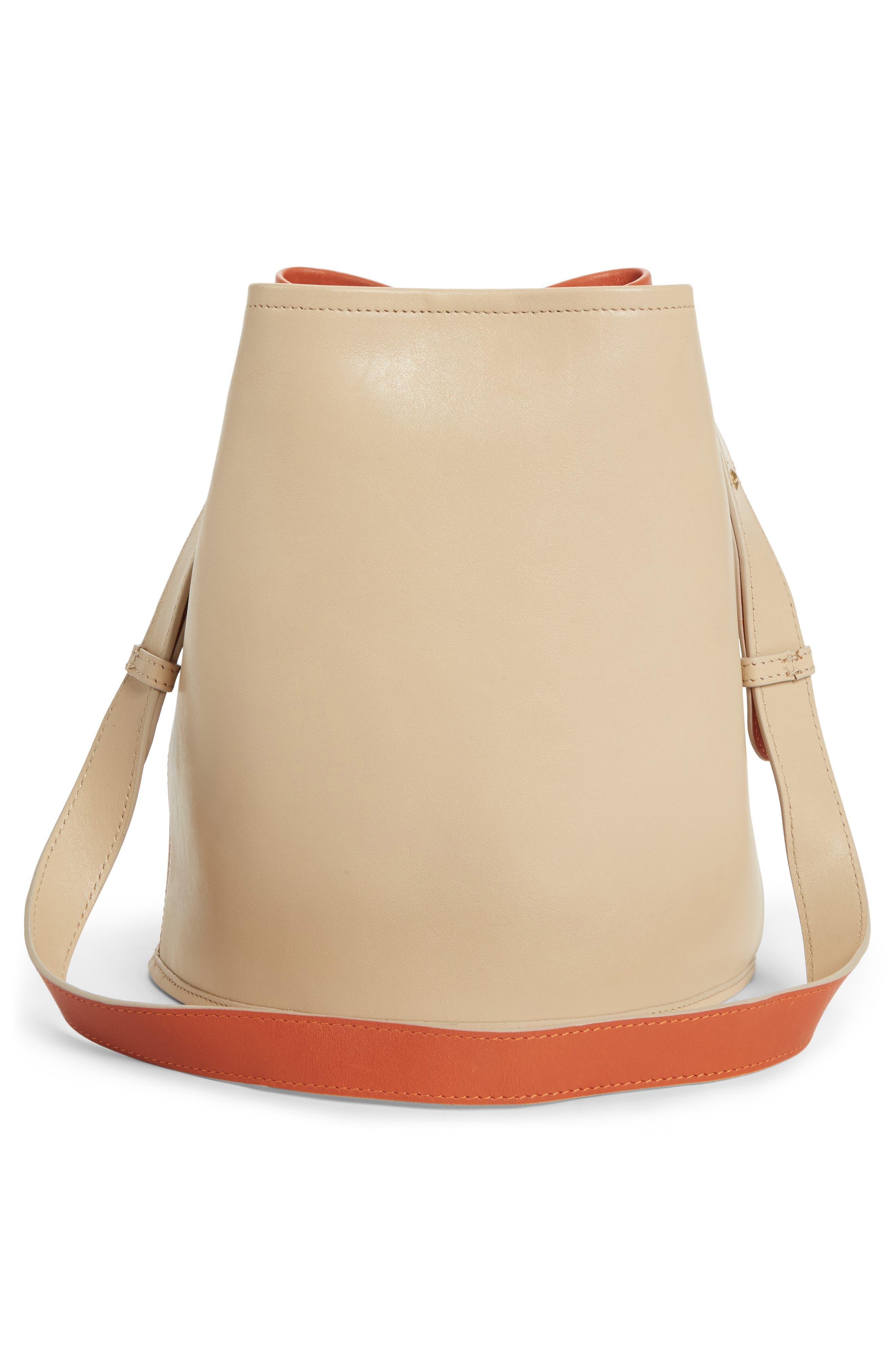 Small Bucket Bicolor Leather Bag,                             Alternate thumbnail 6, color,                             Clove/ Cappuccino