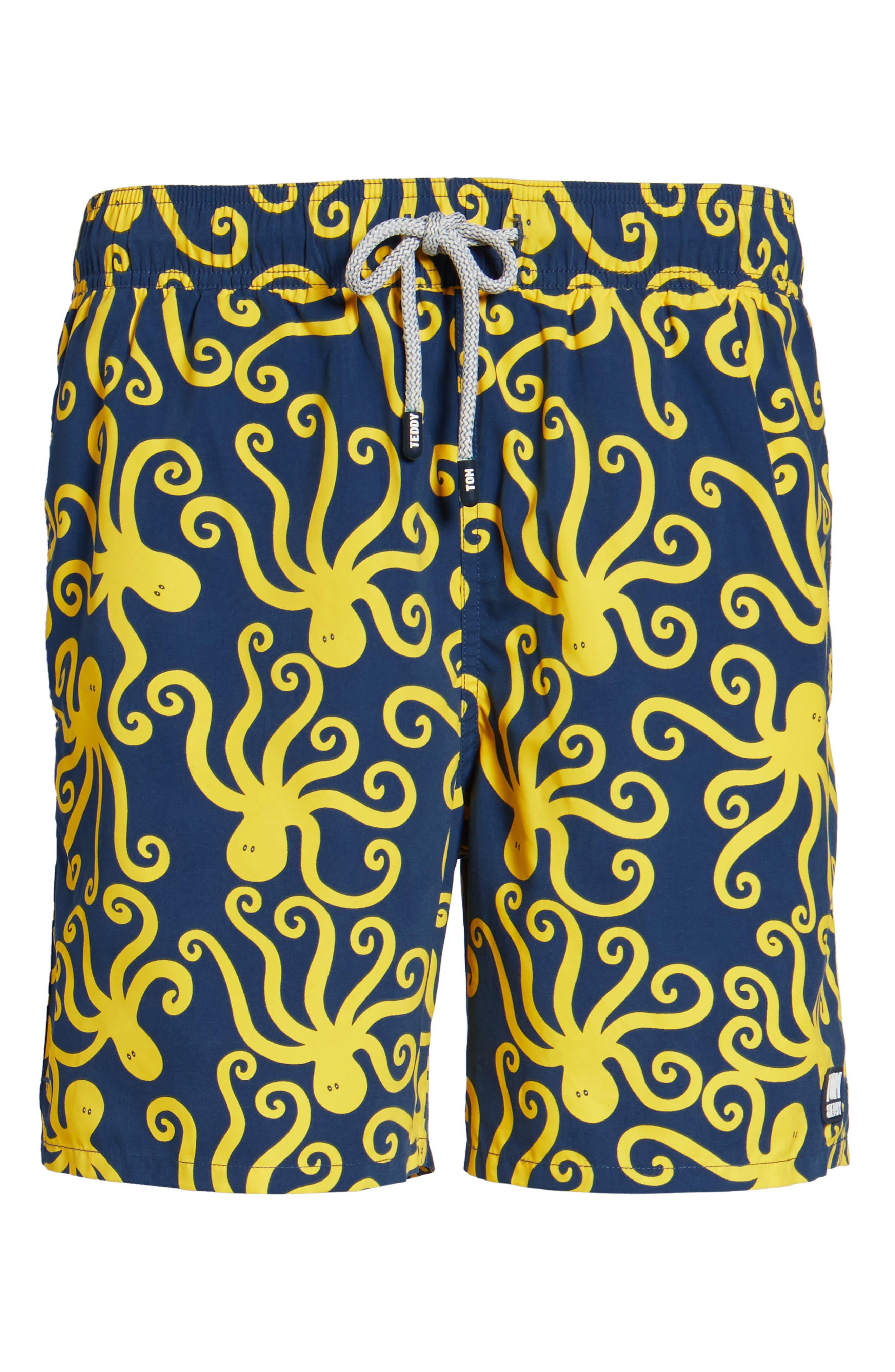 Octopus Swim Trunks,                             Alternate thumbnail 6, color,                             Blue Yellow