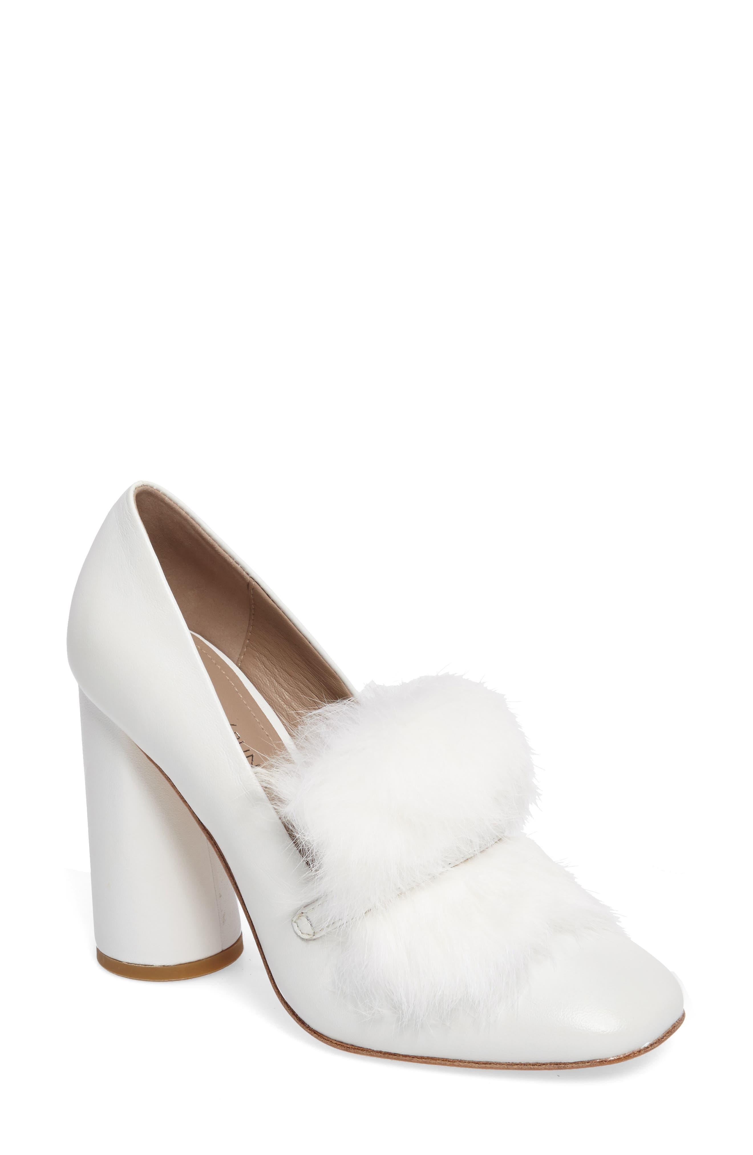 Donald J Pliner Faune Genuine Rabbit Fur Pump (Women)