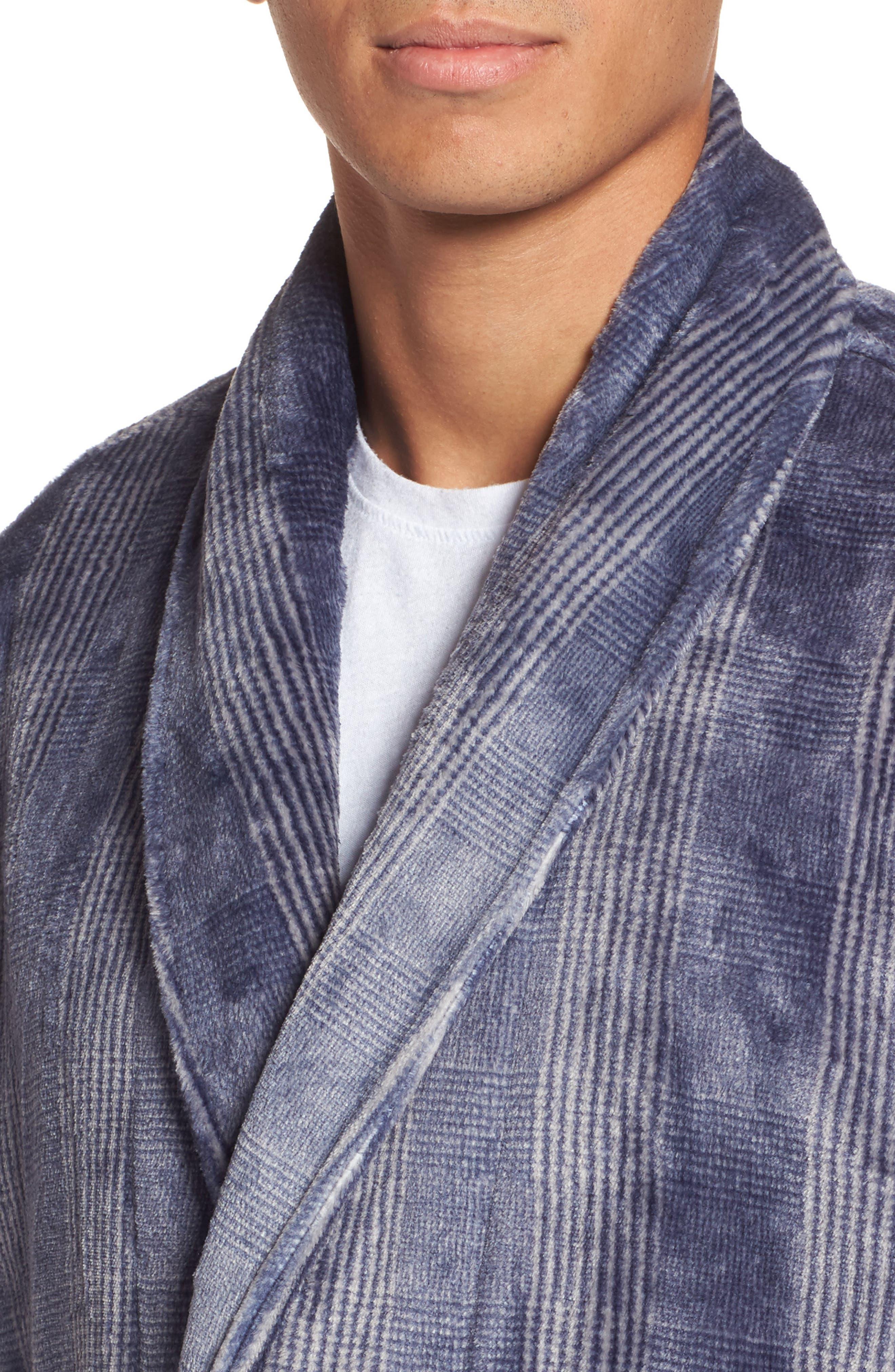 Alternate Image 4  - Nordstrom Men's Shop Glen Check Fleece Robe