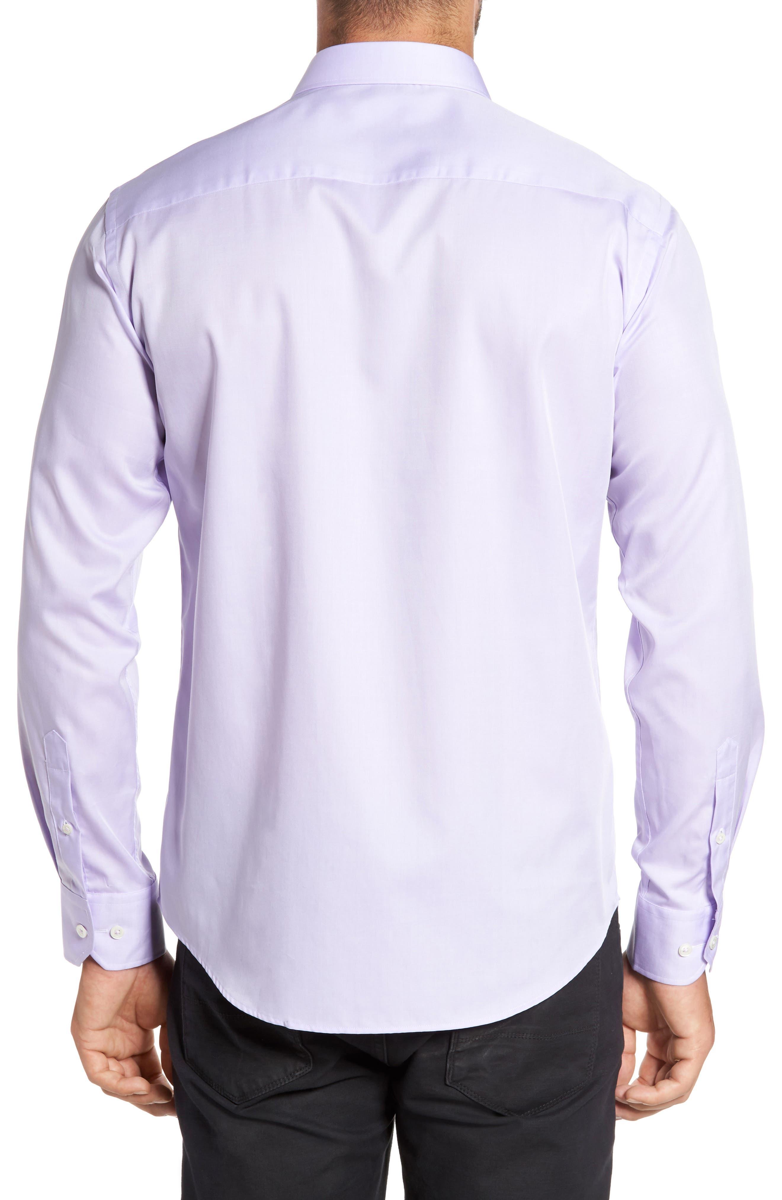 Trim Fit Solid Pastel Sport Shirt,                             Alternate thumbnail 2, color,                             Lavender