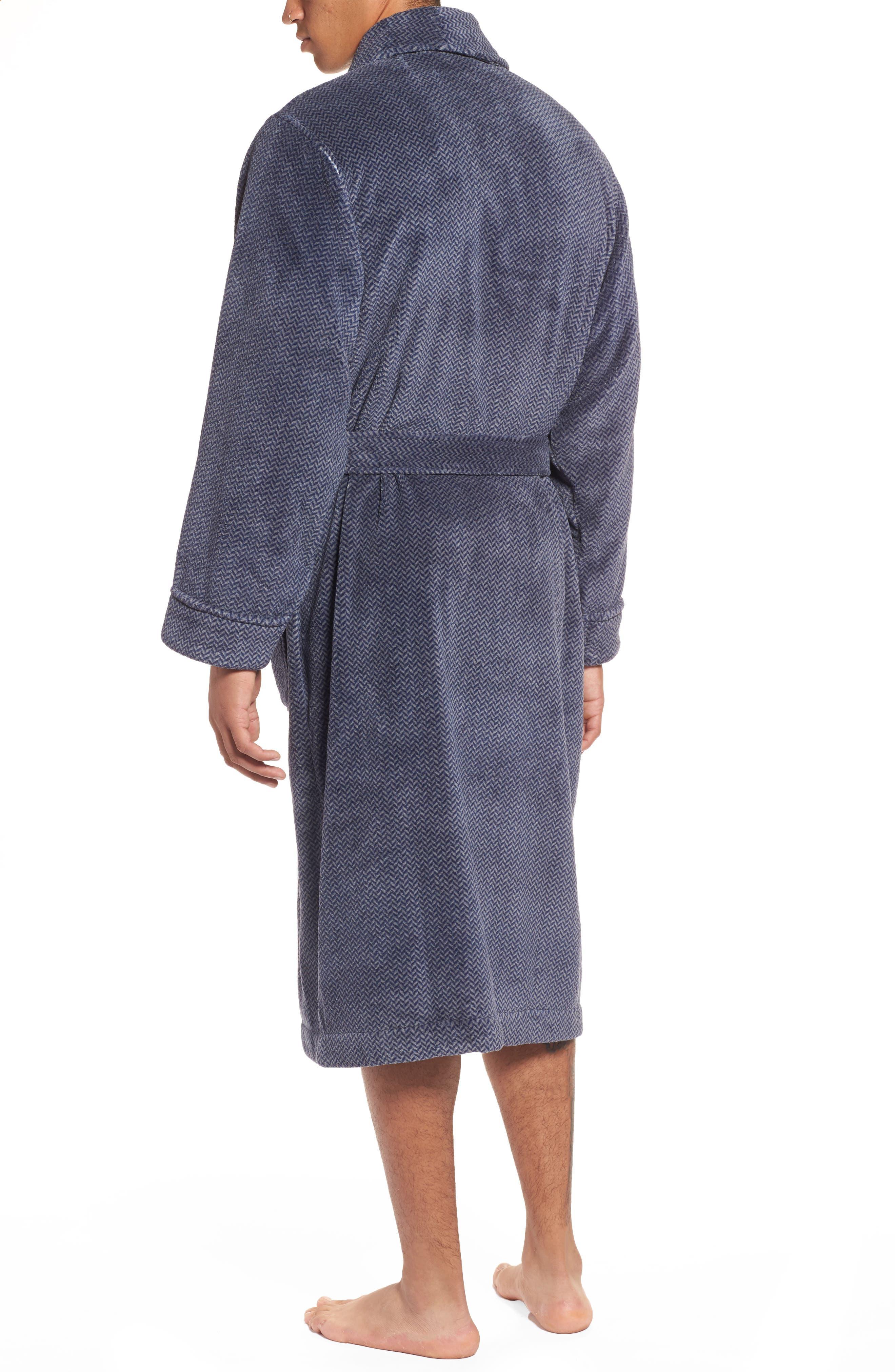 Herringbone Fleece Robe,                             Alternate thumbnail 3, color,                             Navy Indigo- Grey Herringbone