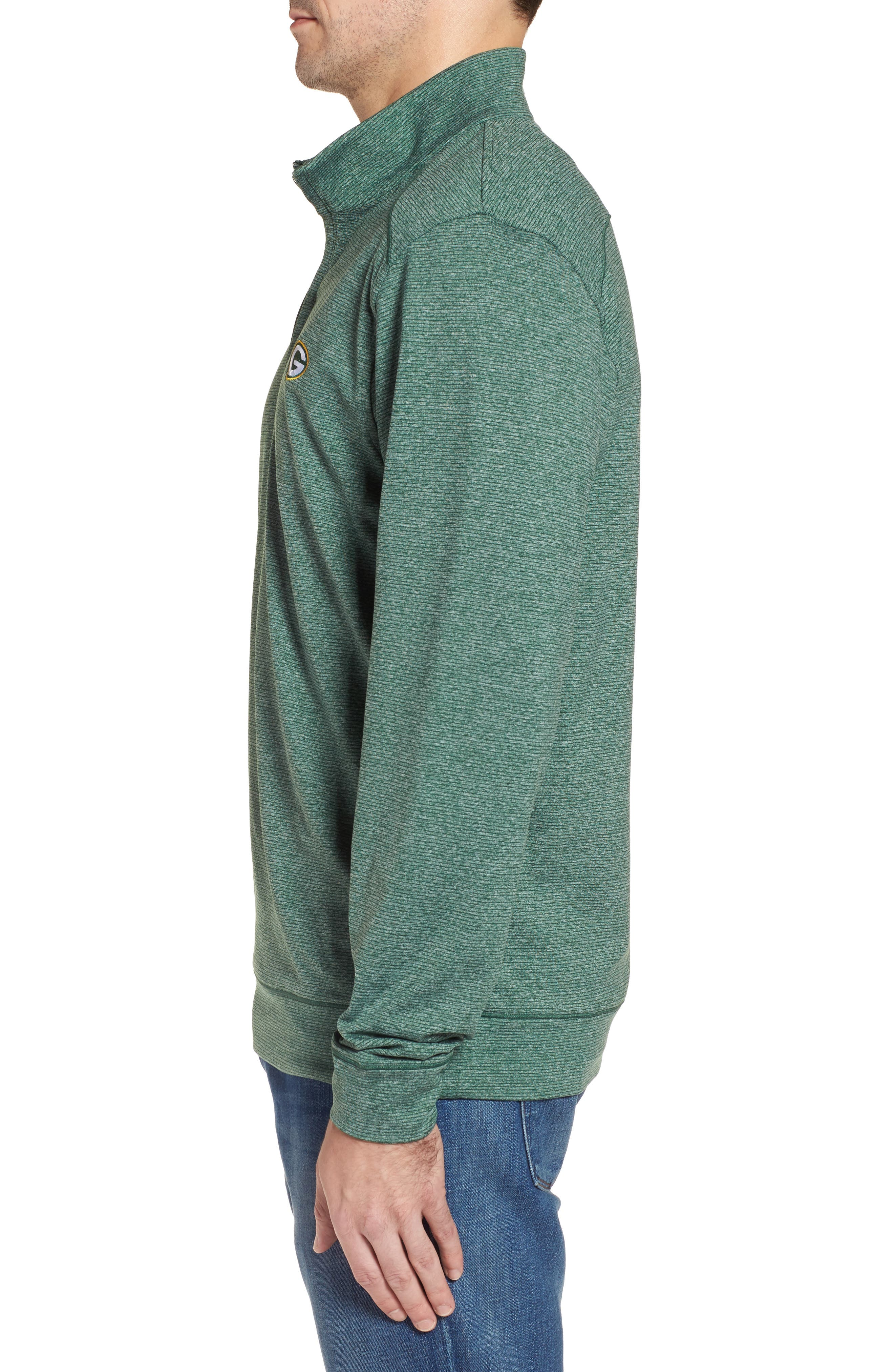 Shoreline - Green Bay Packers Half Zip Pullover,                             Alternate thumbnail 3, color,                             Hunter Heather