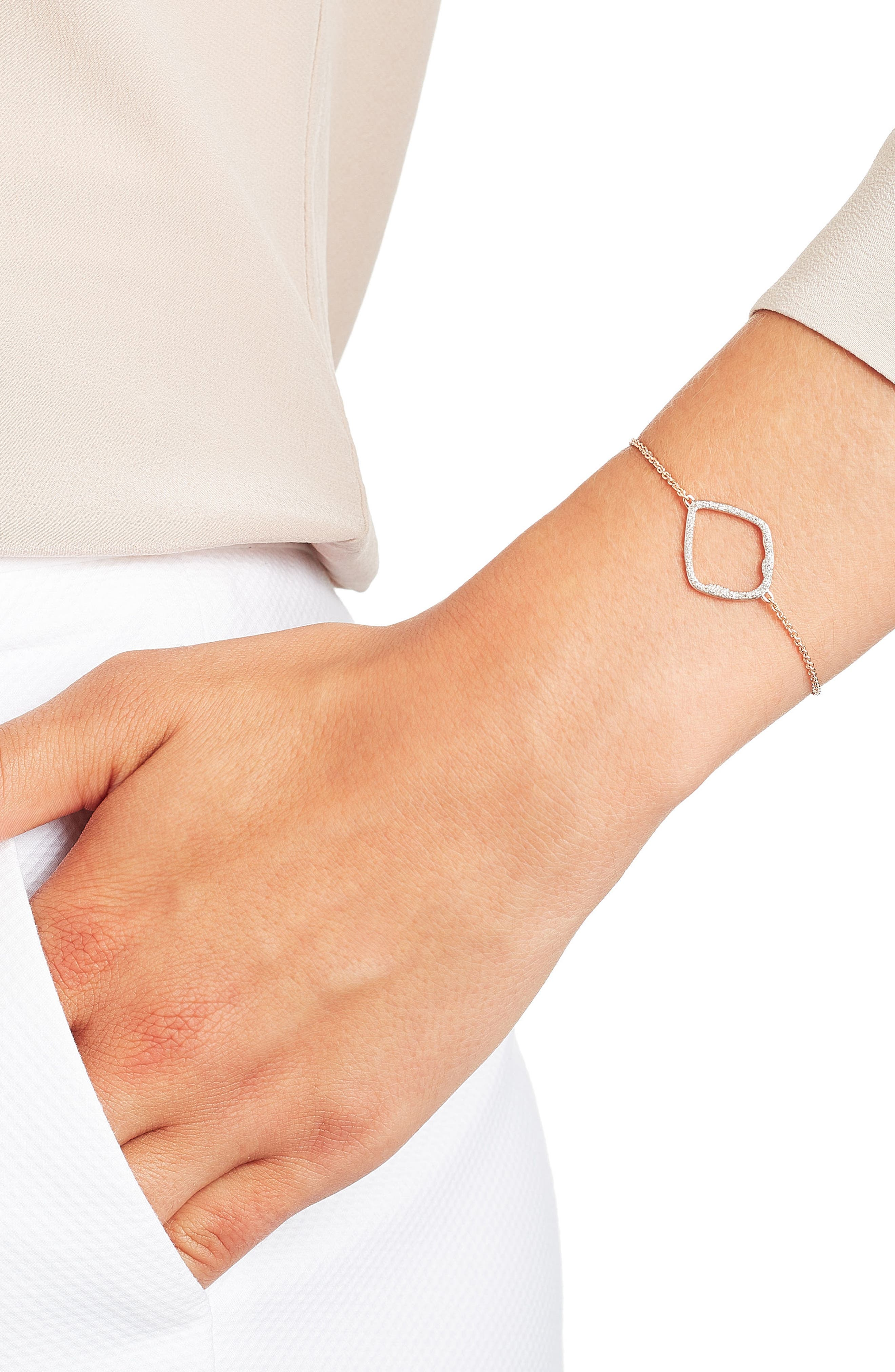 Riva Large Hoop Diamond Bracelet,                             Alternate thumbnail 2, color,                             Rose Gold