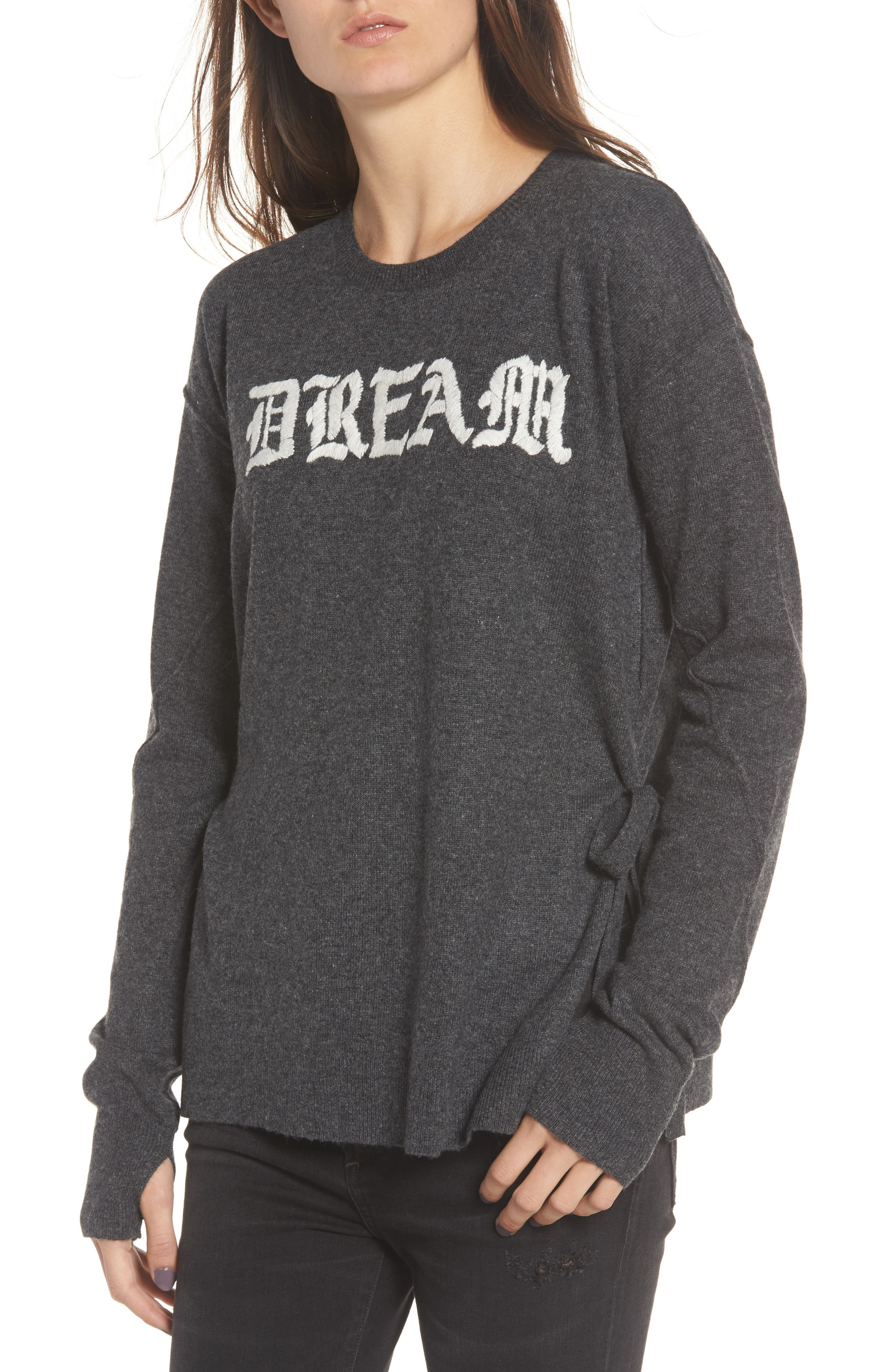 Dream Side Tie Sweater,                             Main thumbnail 1, color,                             Heather Grey