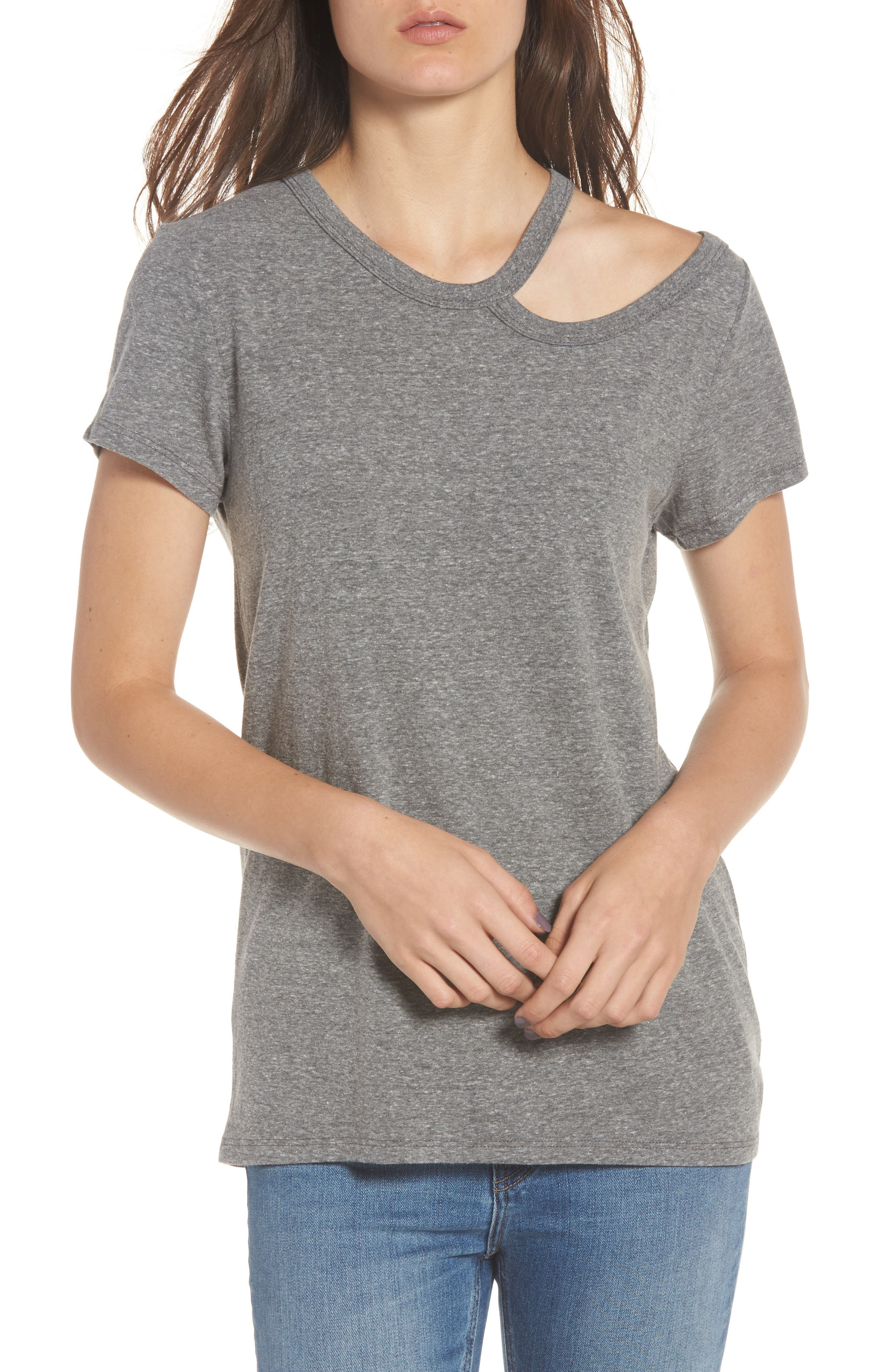 High/Low Hem Tee,                         Main,                         color, Heather Grey
