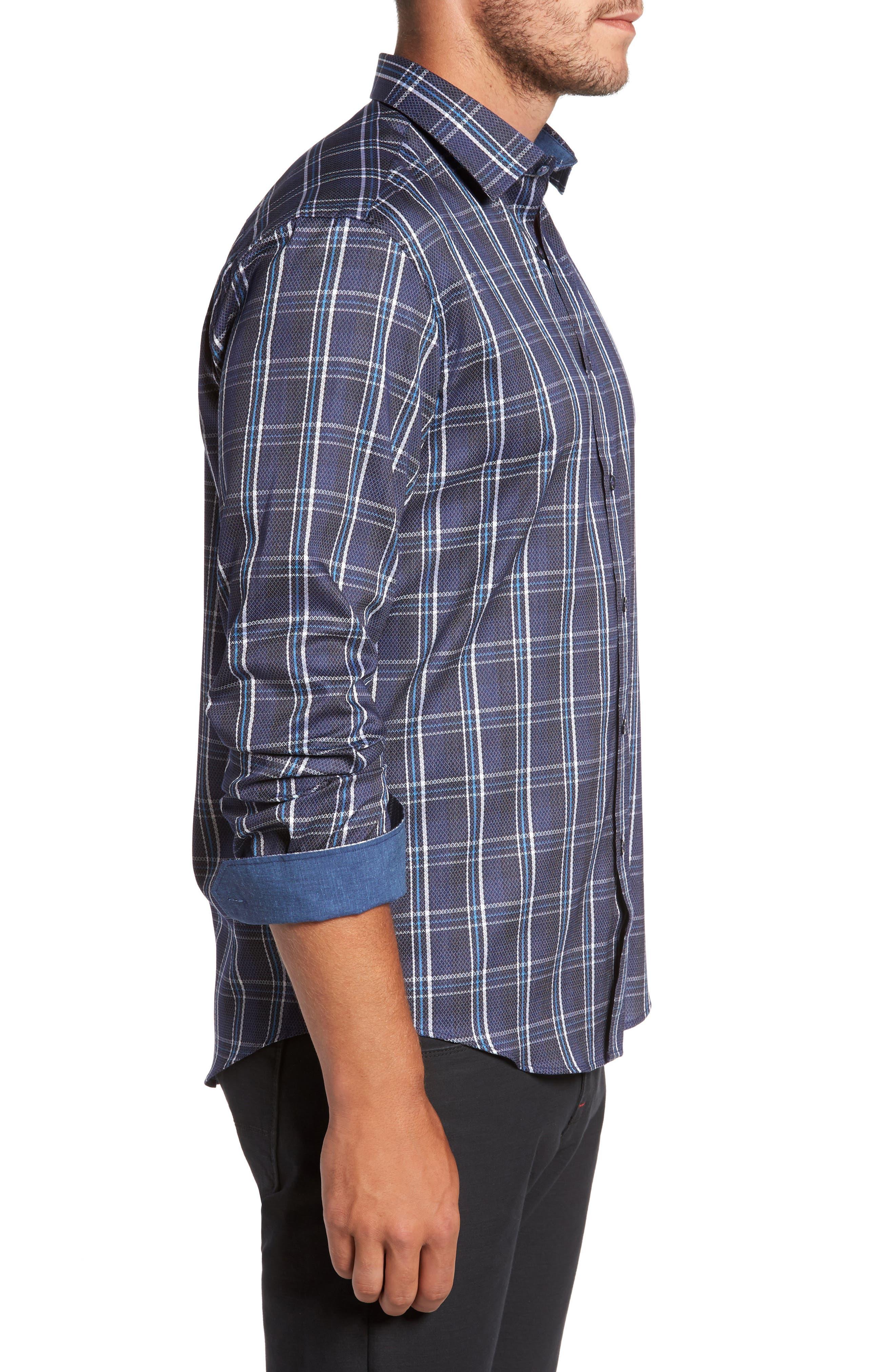 Alternate Image 3  - Bugatchi Trim Fit Diamond Weave Windowpane Sport Shirt