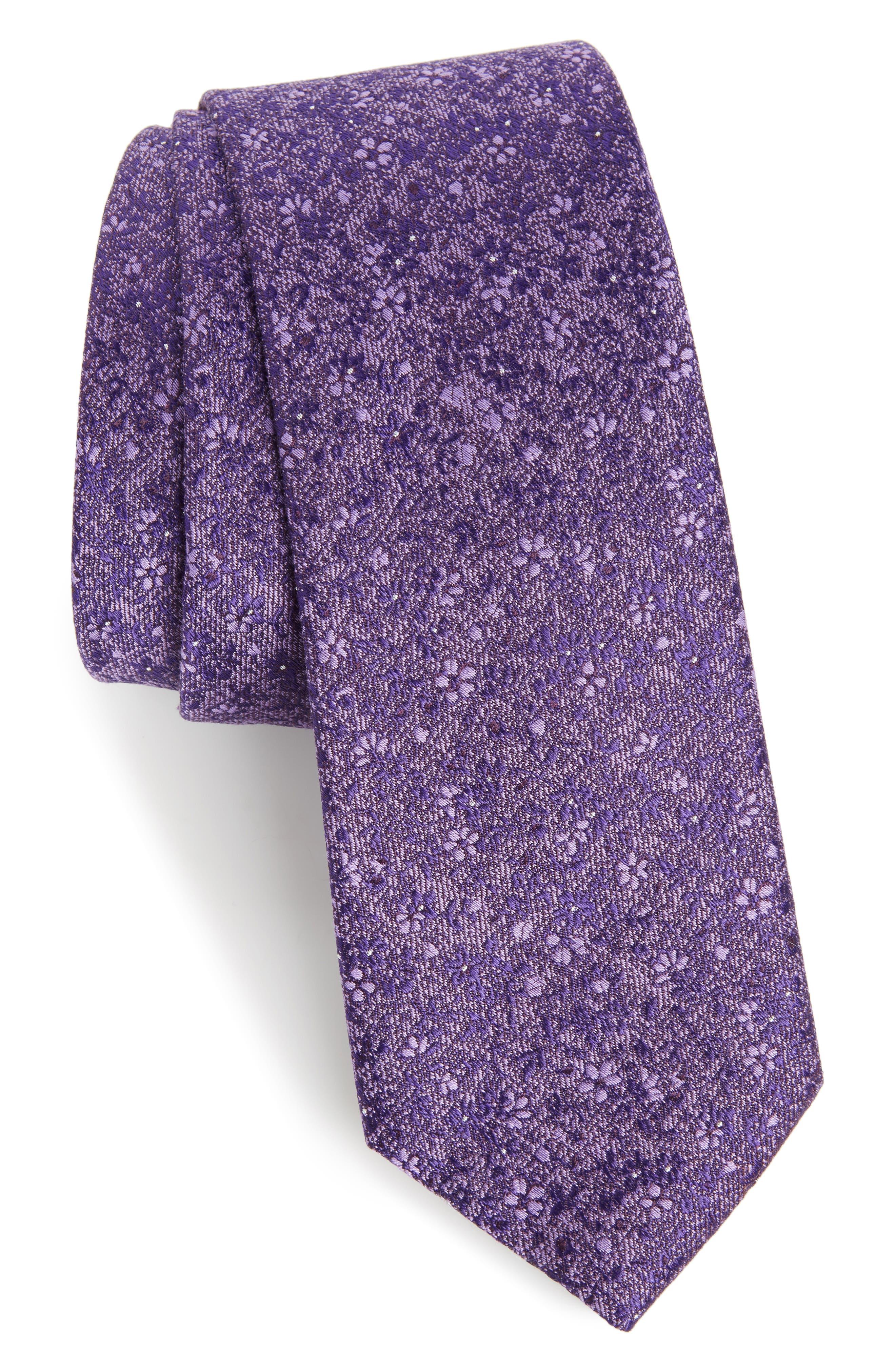 Calibrate Lindsay Floral Print Silk & Cotton Tie