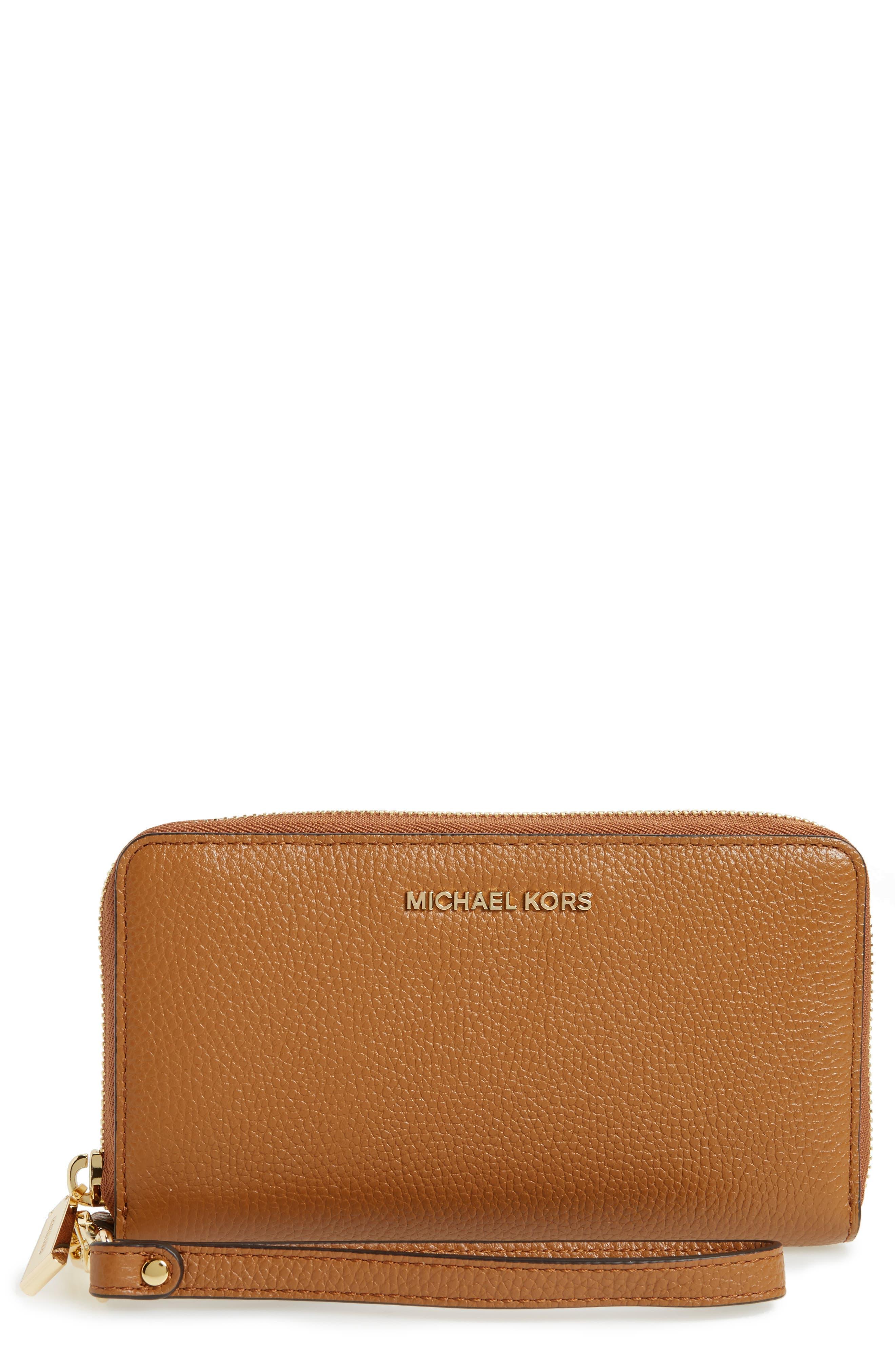 Mercer Large Leather Tech Wristlet,                             Main thumbnail 1, color,                             Acorn