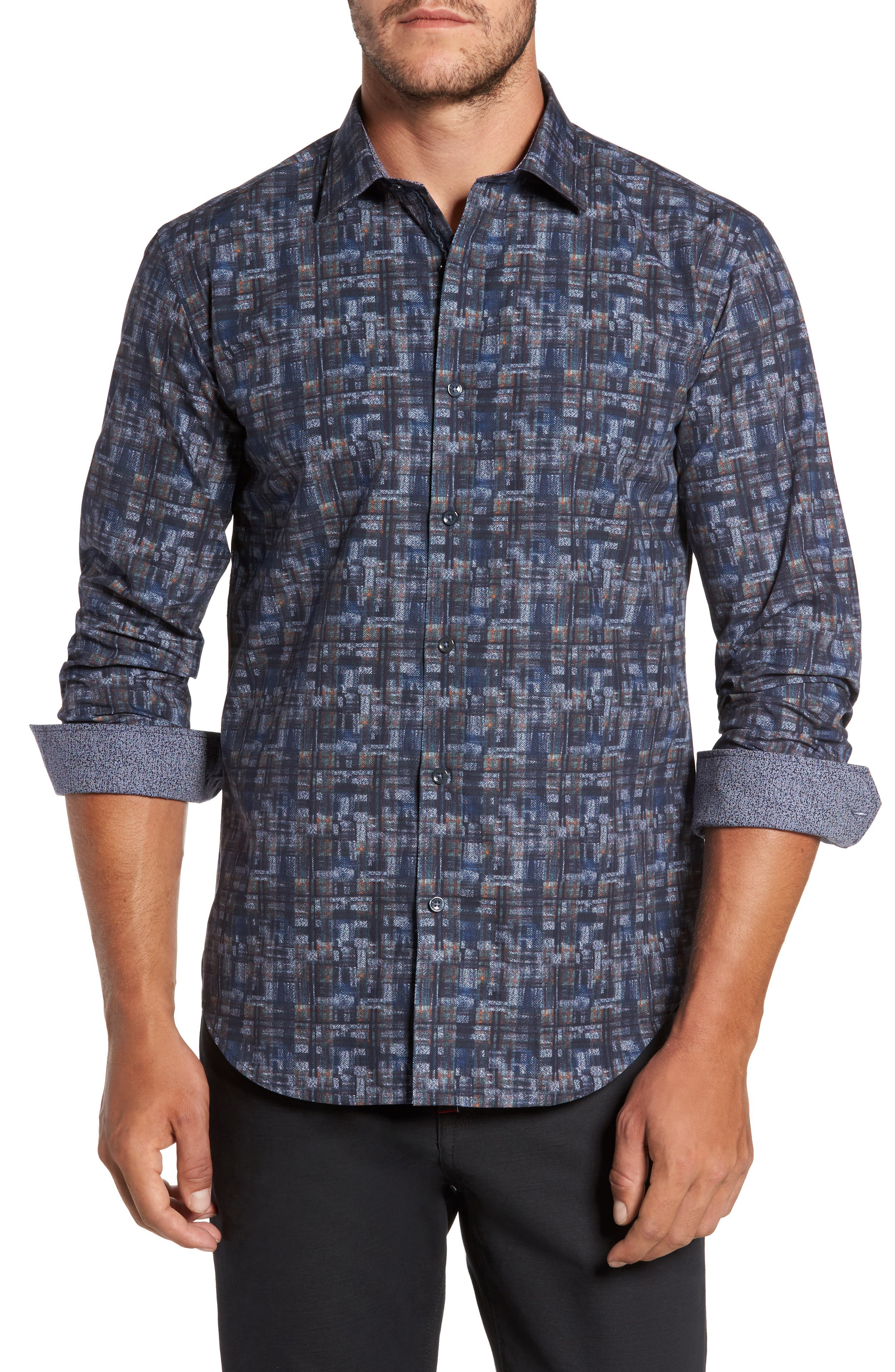 Trim Fit Brushstroke Print Sport Shirt,                             Main thumbnail 1, color,                             Navy